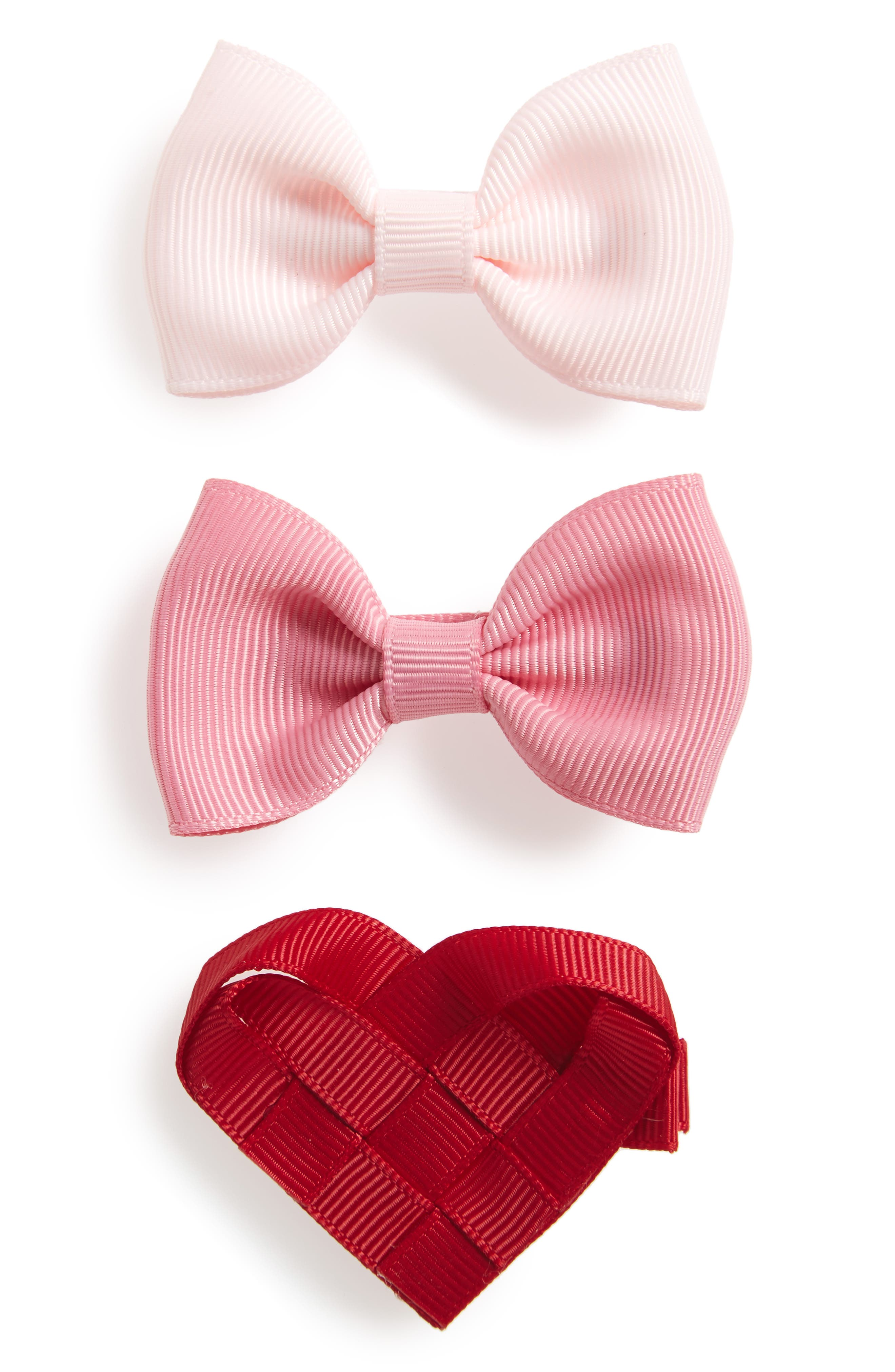 3-Piece Heart & Bows Hair Clip Set,                             Main thumbnail 1, color,                             650