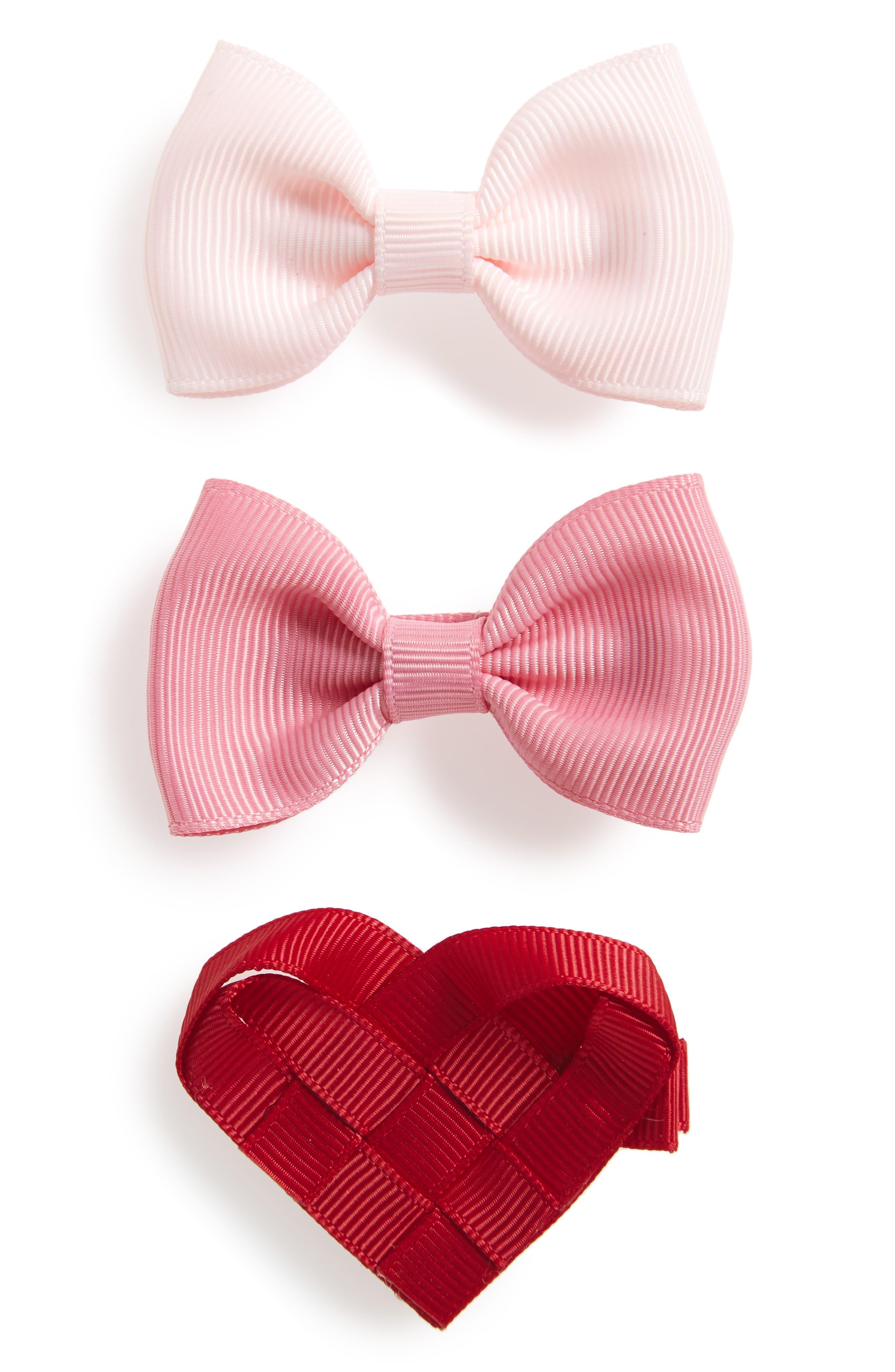 3-Piece Heart & Bows Hair Clip Set,                         Main,                         color, 650