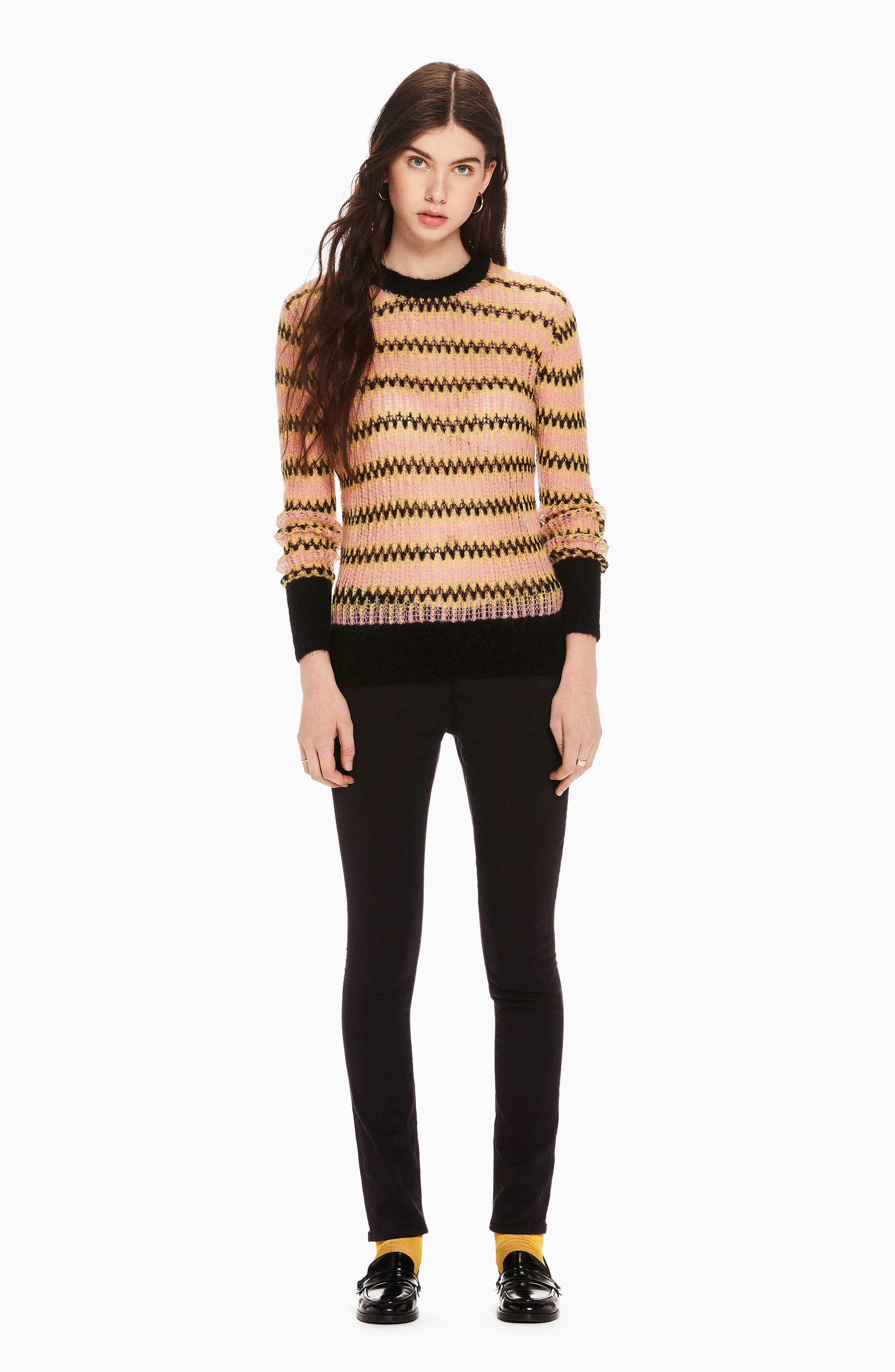 Zig Zag Wool Blend Sweater,                             Alternate thumbnail 7, color,                             700