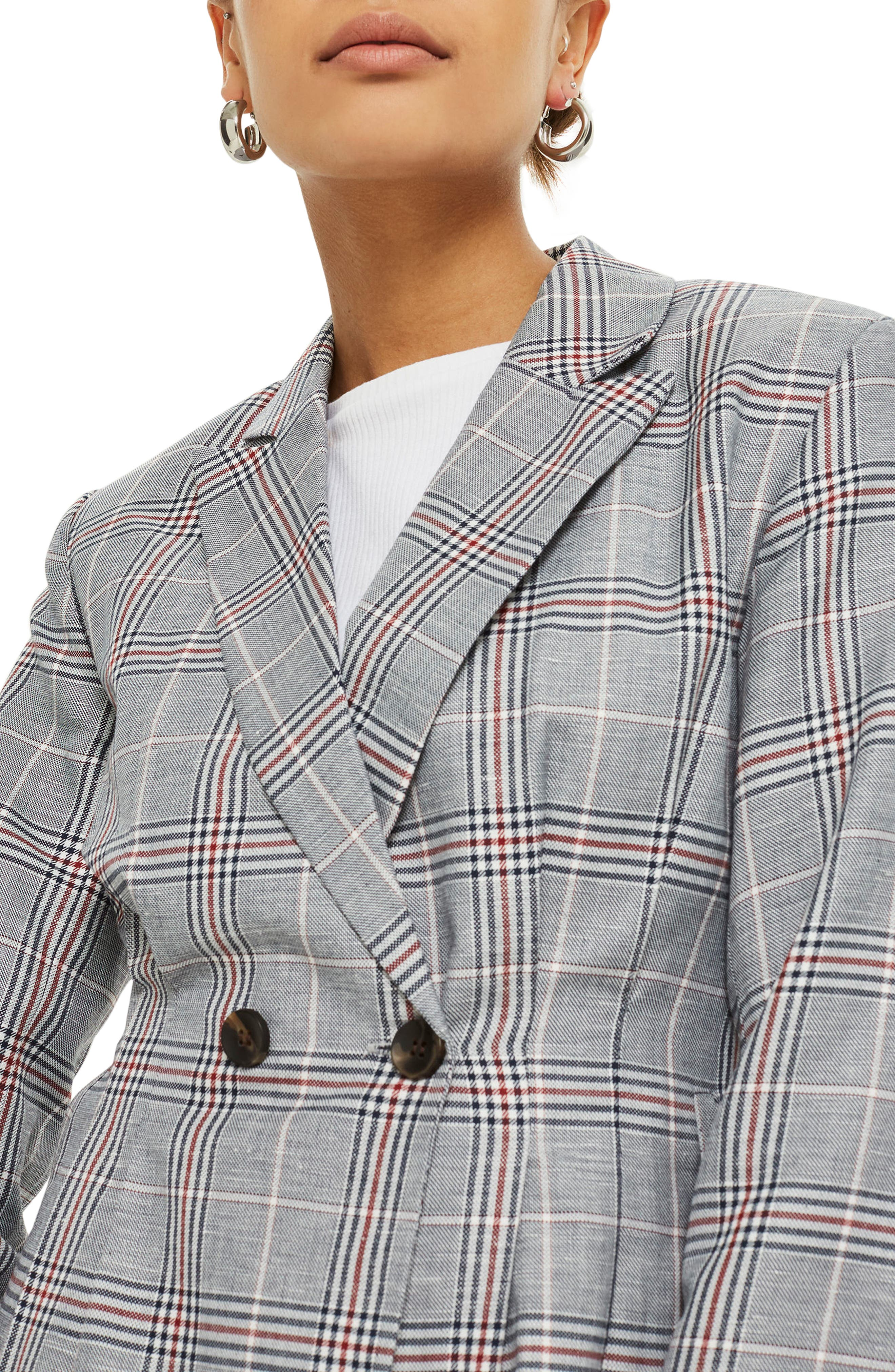 Cham Linen Checkered Jacket,                             Alternate thumbnail 3, color,                             021