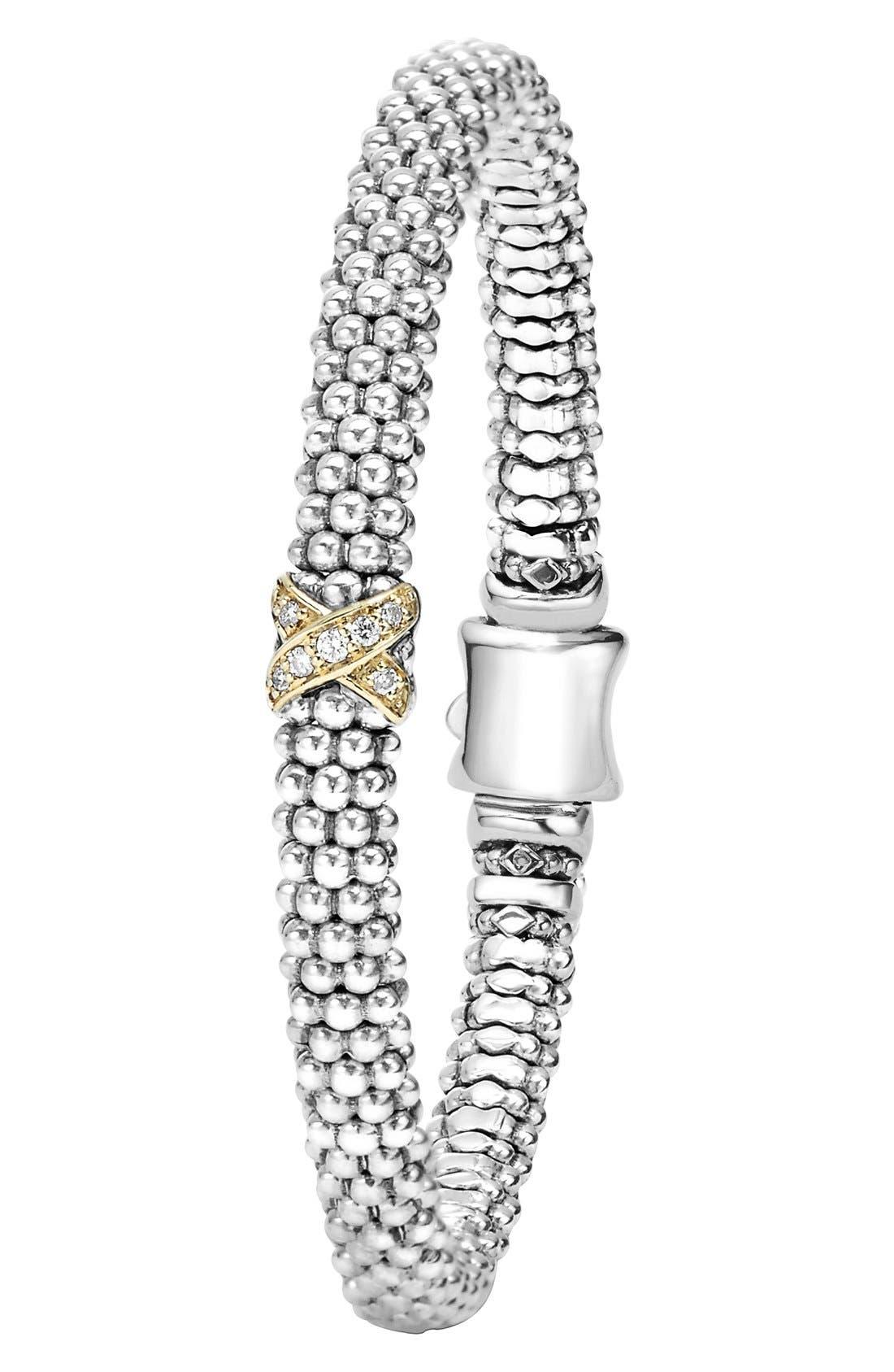 Caviar 'Signature Caviar' Diamond Rope Bracelet,                             Alternate thumbnail 3, color,                             STERLING SILVER/ GOLD