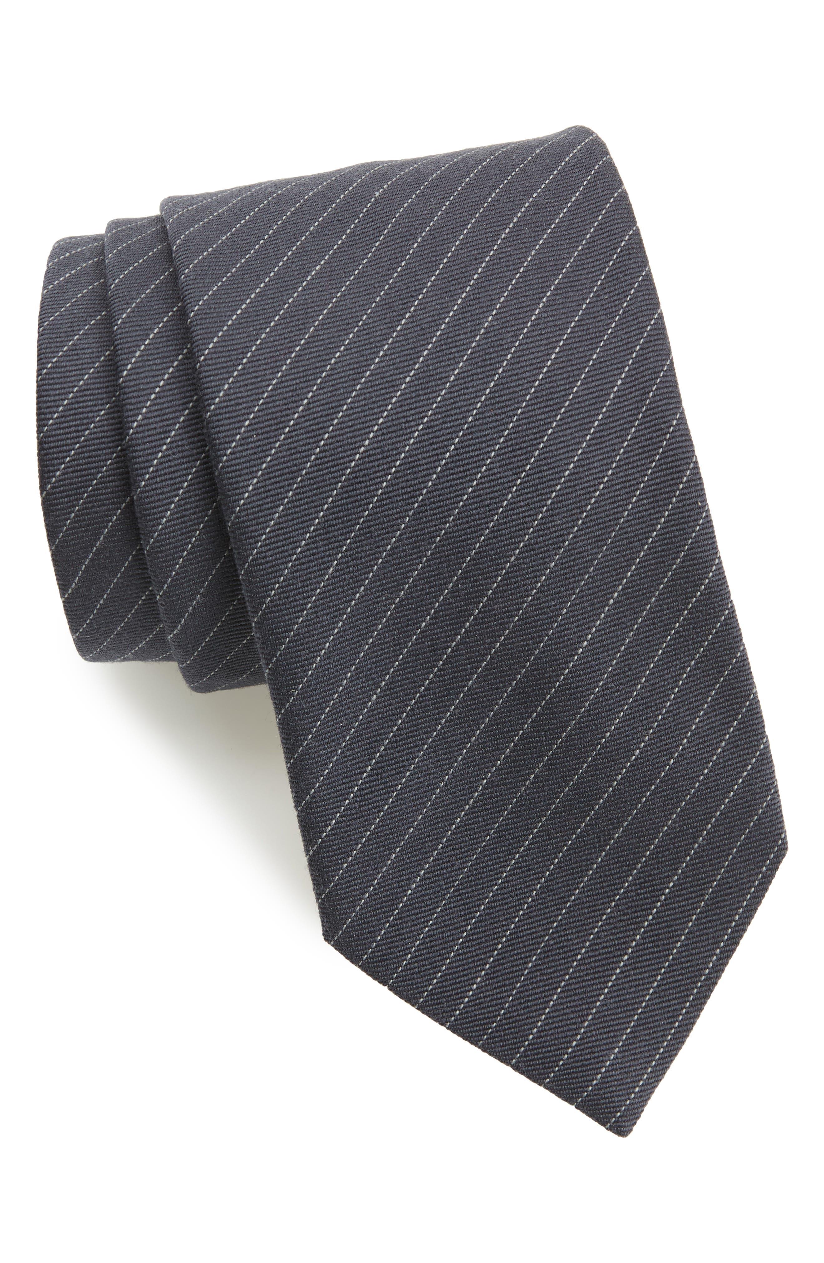 Stripe Wool & Silk Tie,                             Main thumbnail 1, color,                             PEARL GREY