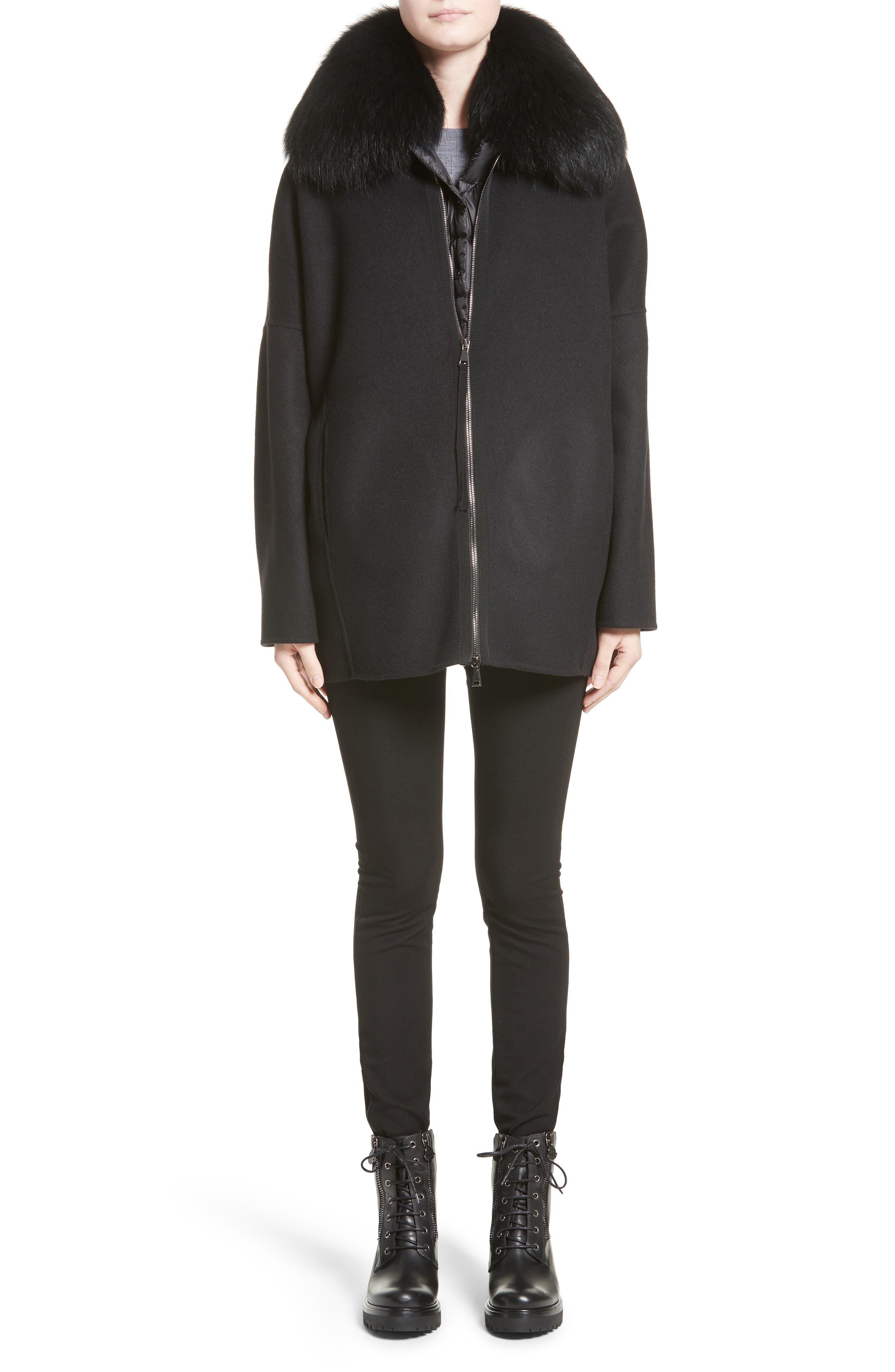 Buxus Wool & Cashmere Coat with Removable Genuine Fox Fur Trim Vest,                             Alternate thumbnail 7, color,                             001