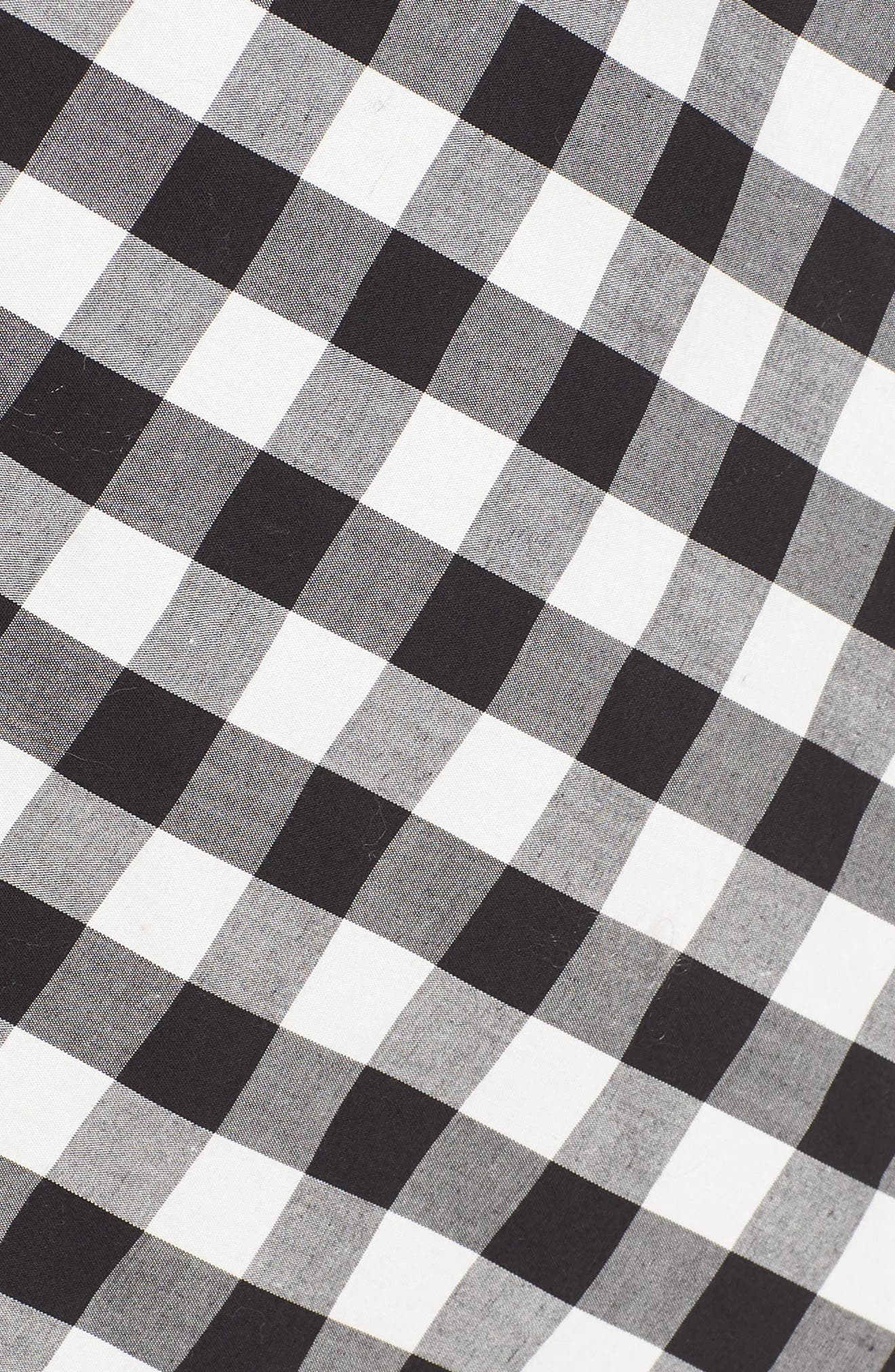Gingham Wrap Midi Dress,                             Alternate thumbnail 6, color,                             003