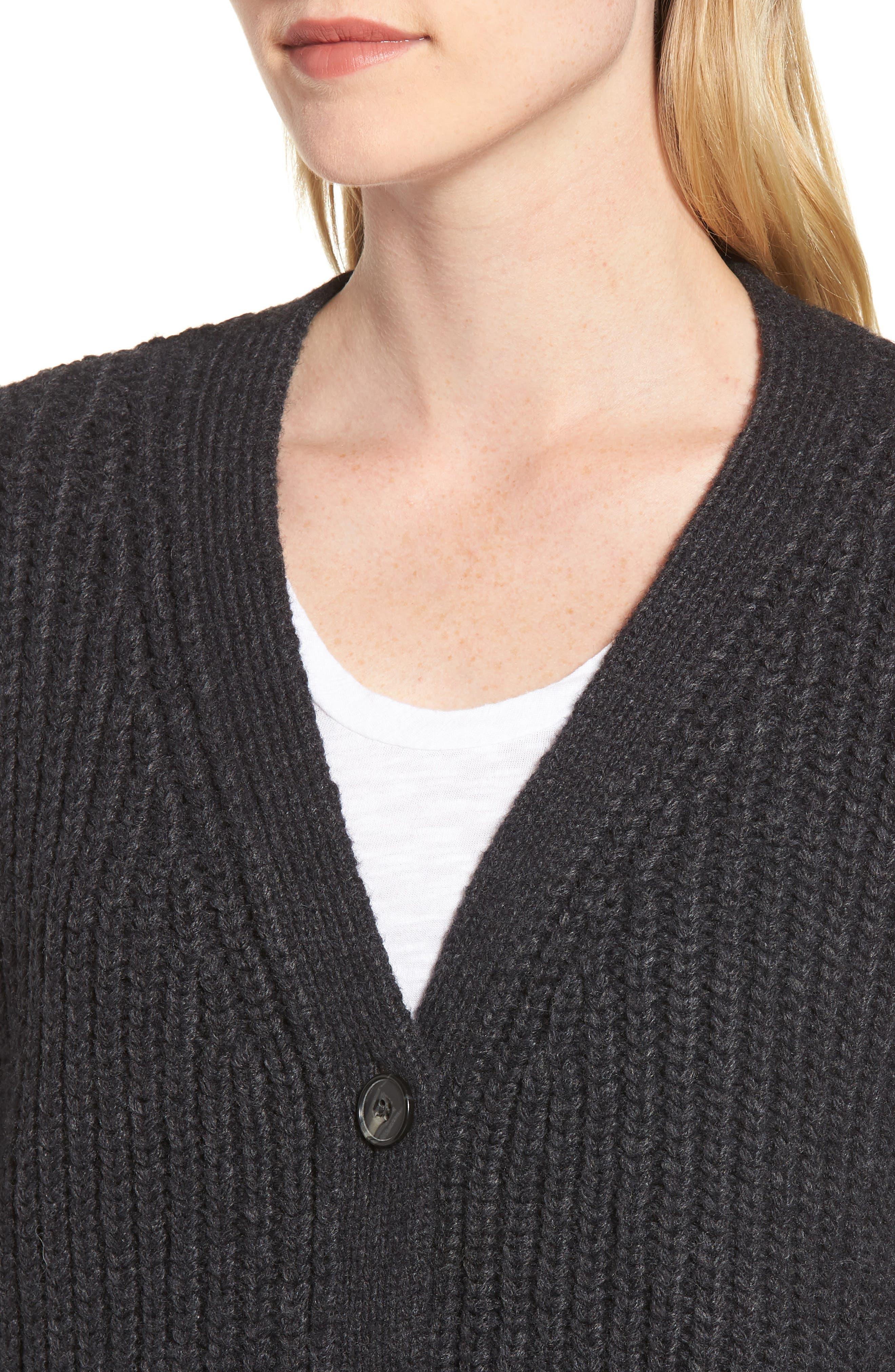 Chunky Wool Alpaca Shaker Cardigan,                             Alternate thumbnail 4, color,                             025