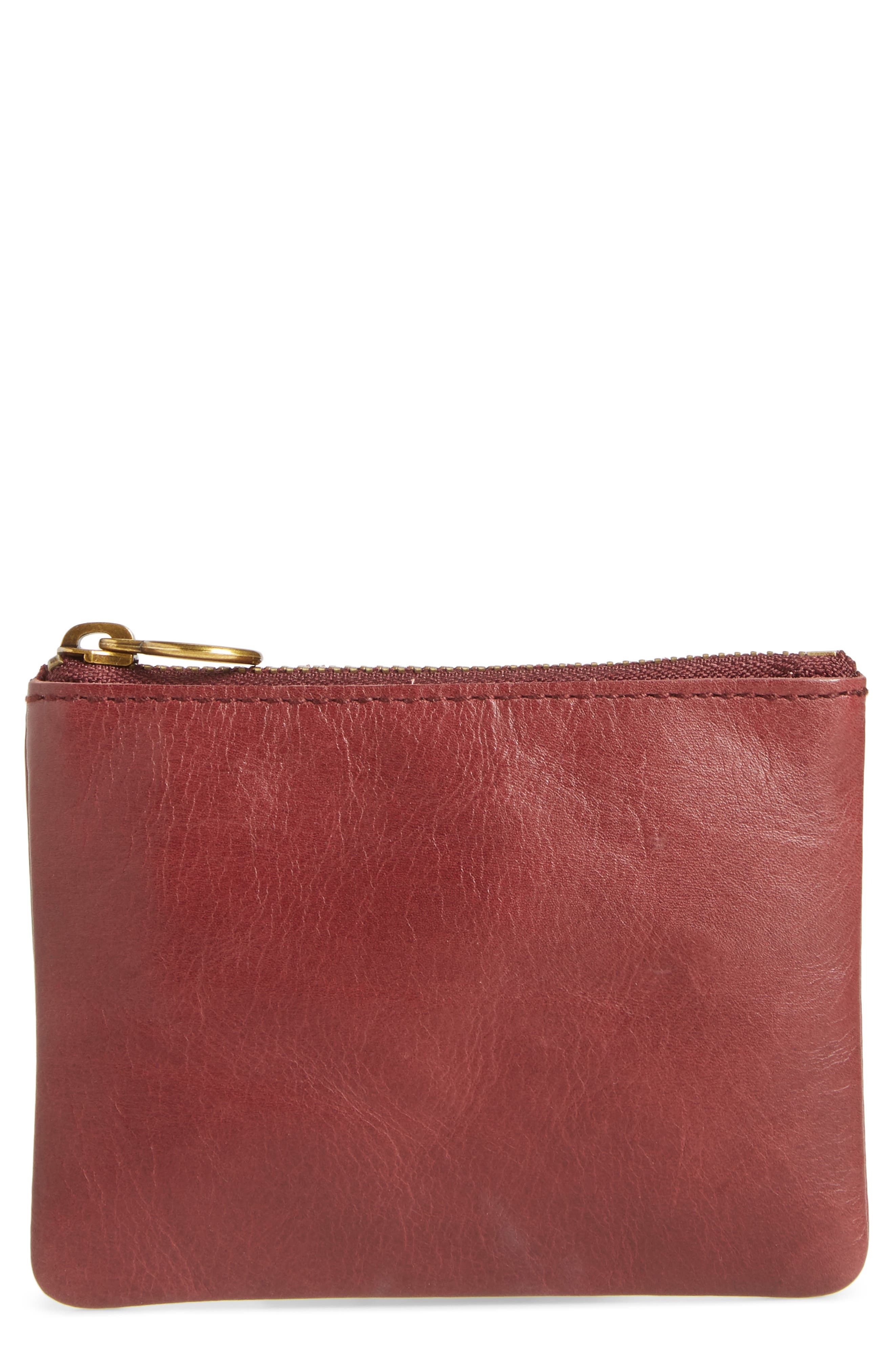 The Leather Pouch Wallet,                             Main thumbnail 1, color,                             DARK CABERNET