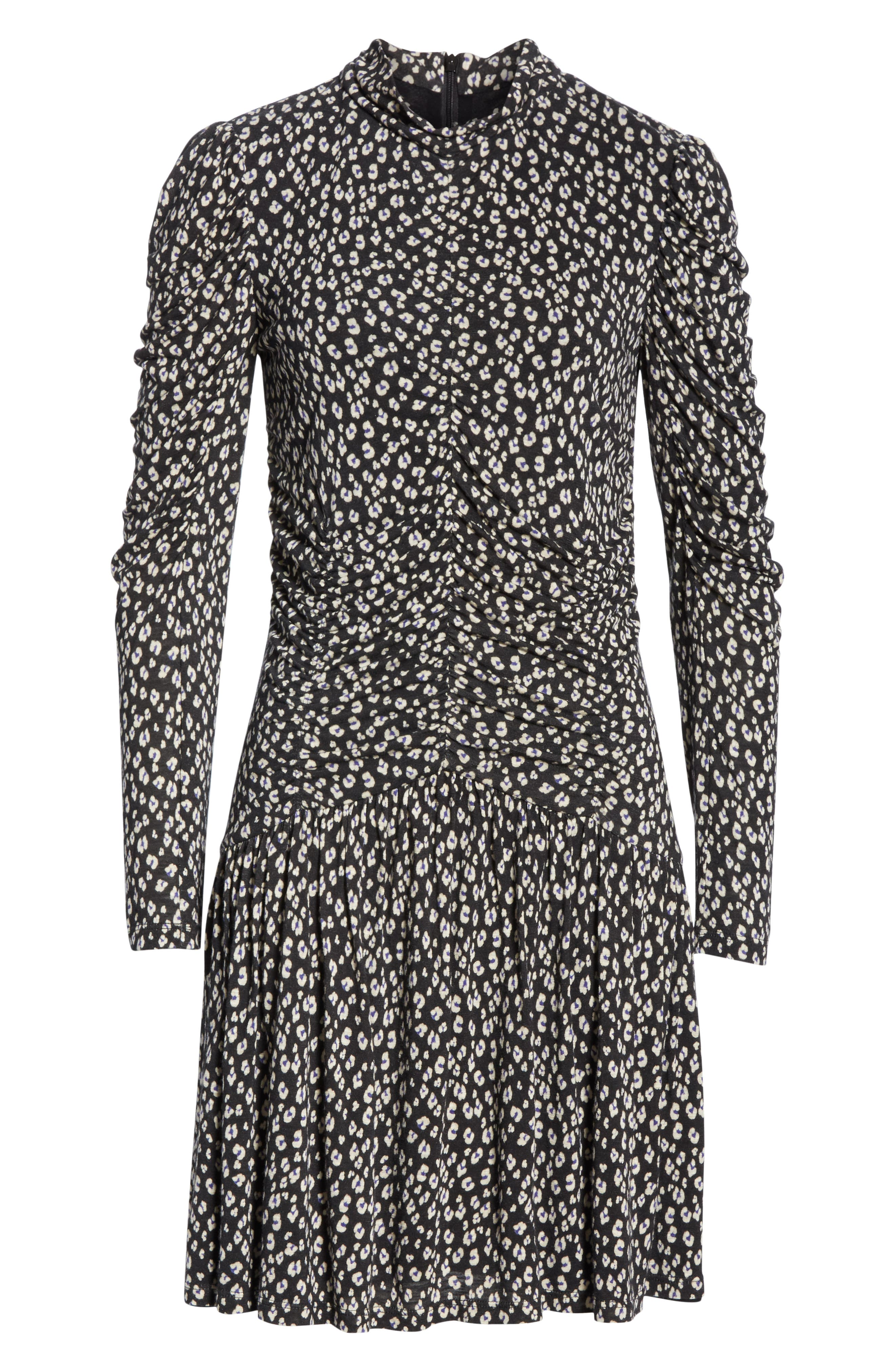 Cheetah Ruched Jersey Dress,                             Alternate thumbnail 6, color,                             BLACK COMBO