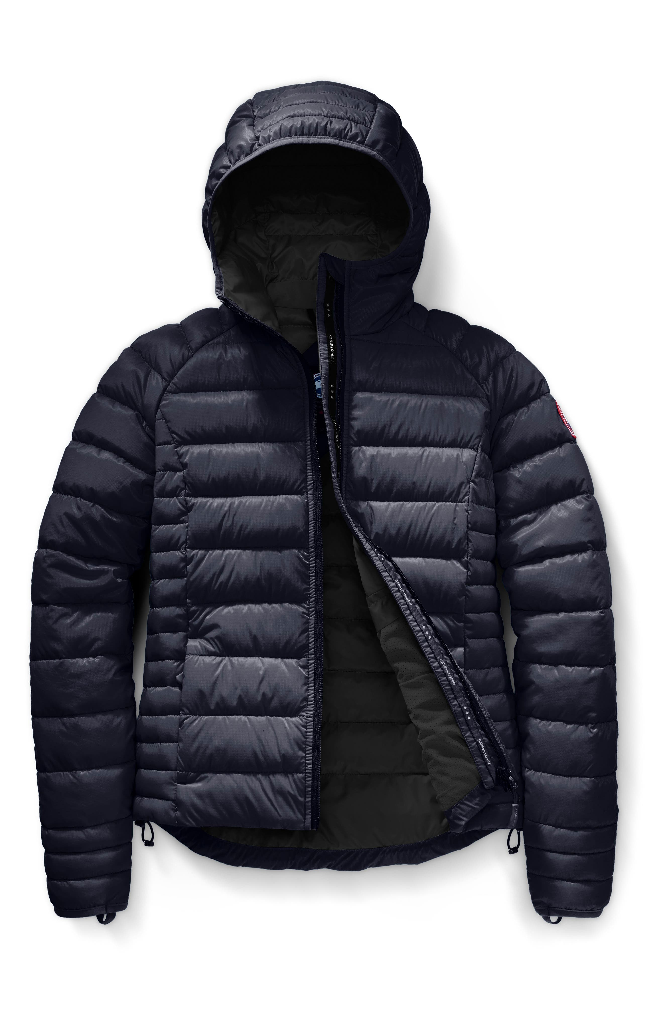 'Brookvale' Packable Hooded Quilted Down Jacket,                             Alternate thumbnail 4, color,                             ADMIRAL BLUE/ BLACK