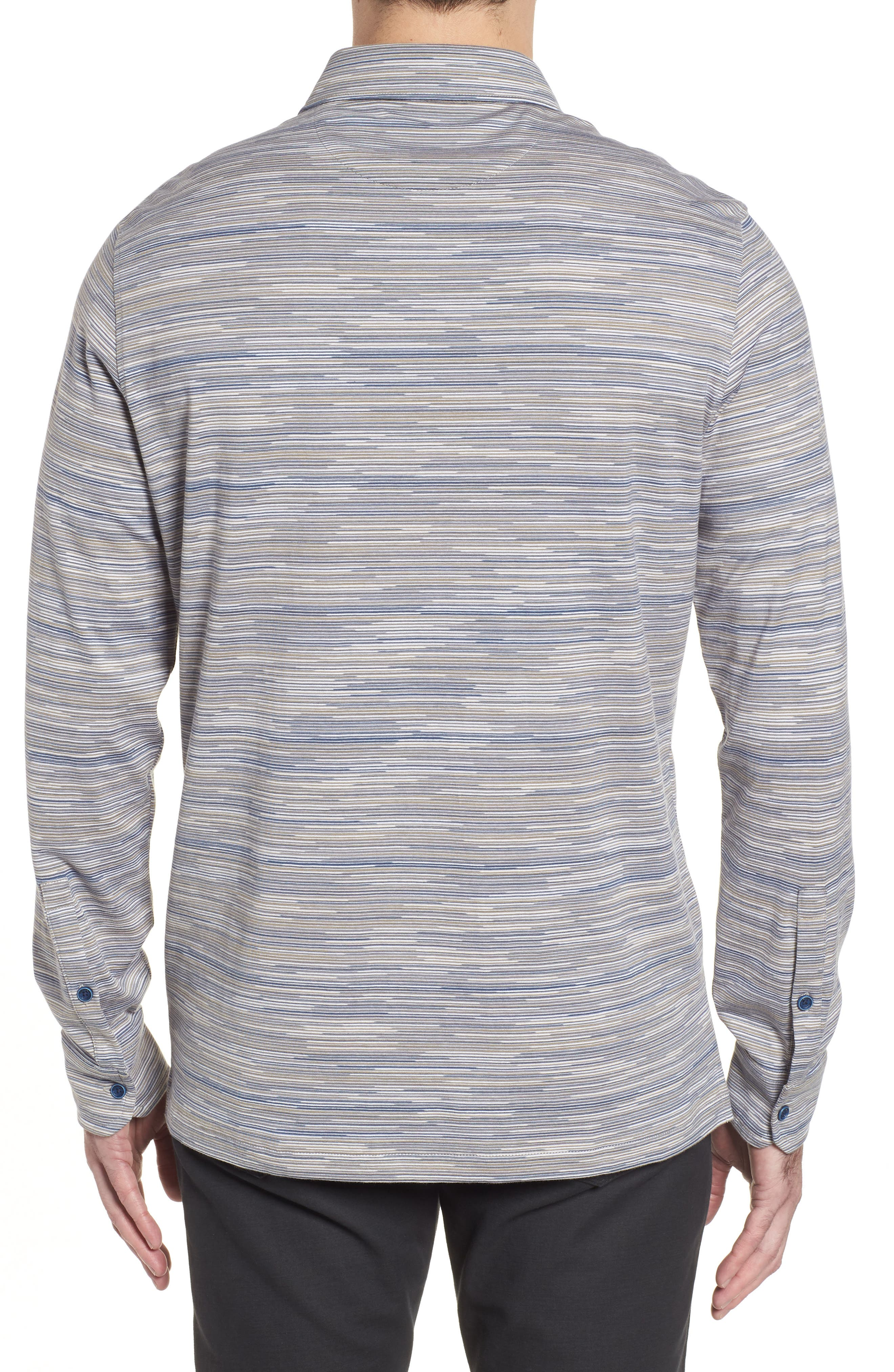 Regular Fit Striated Knit Sport Shirt,                             Alternate thumbnail 2, color,