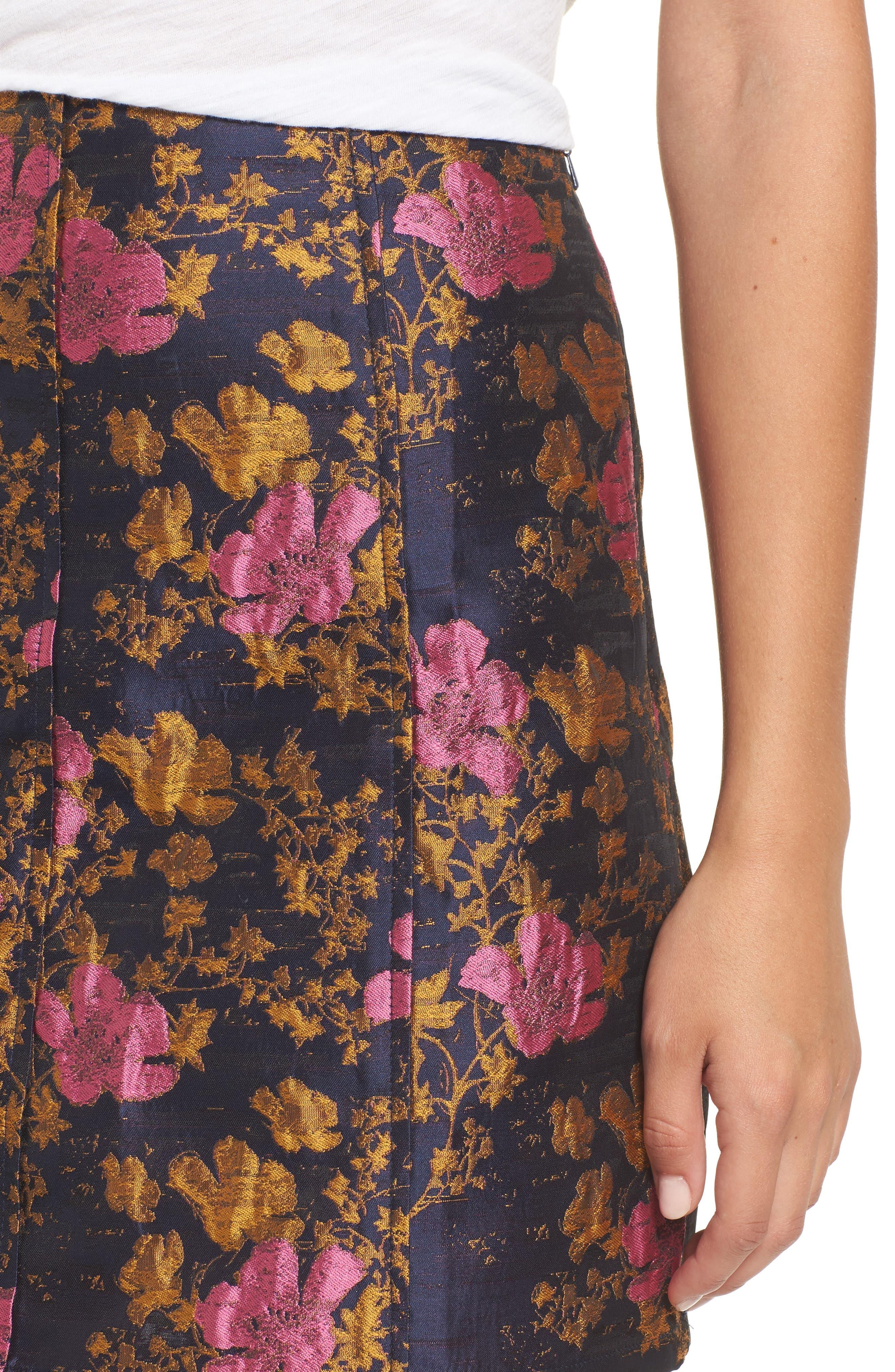 High Waist Floral Print Miniskirt,                             Alternate thumbnail 4, color,