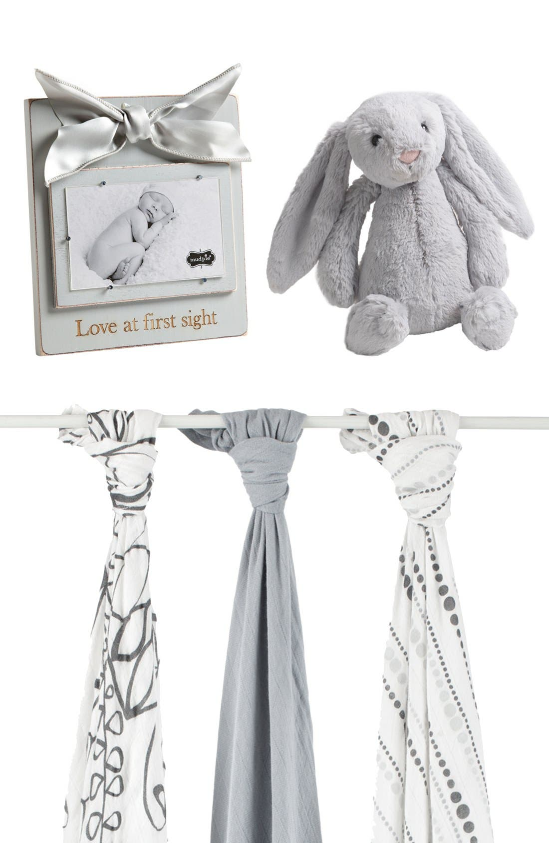 'Bashful Bunny' Stuffed Animal,                             Main thumbnail 1, color,                             GREY