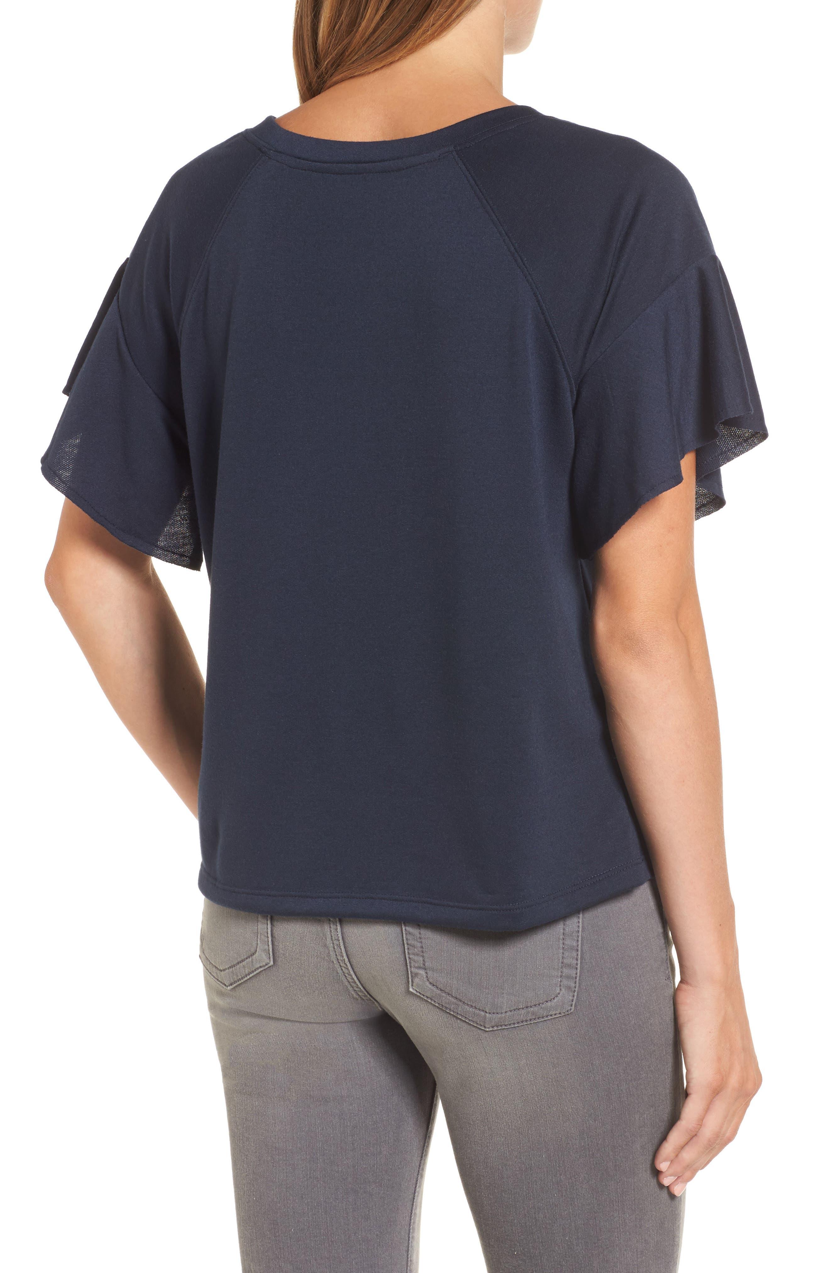 Ruffle Sleeve Sweatshirt,                             Alternate thumbnail 7, color,