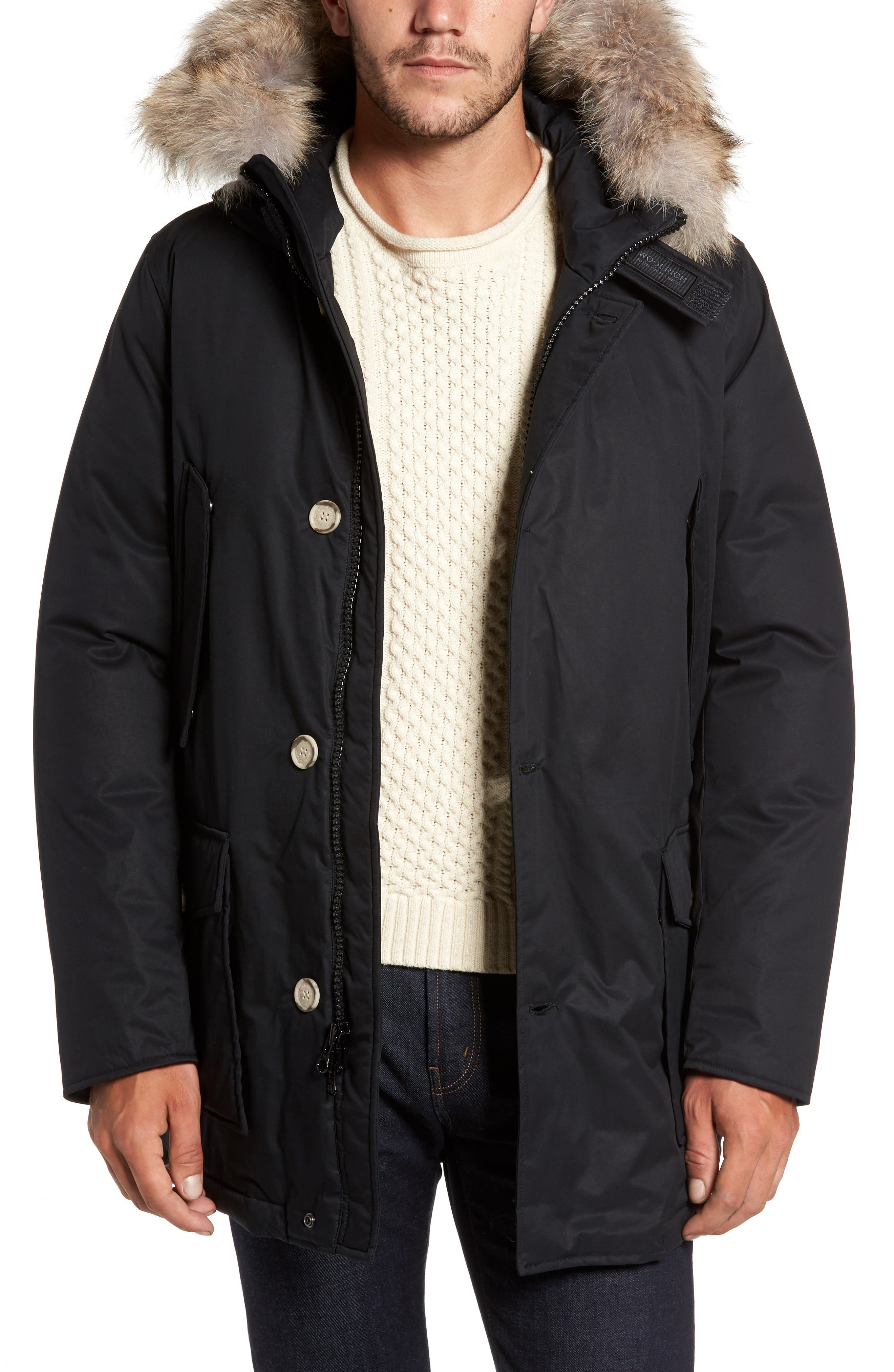 John Rich & Bros. Laminated Cotton Down Parka with Genuine Coyote Fur Trim,                         Main,                         color,