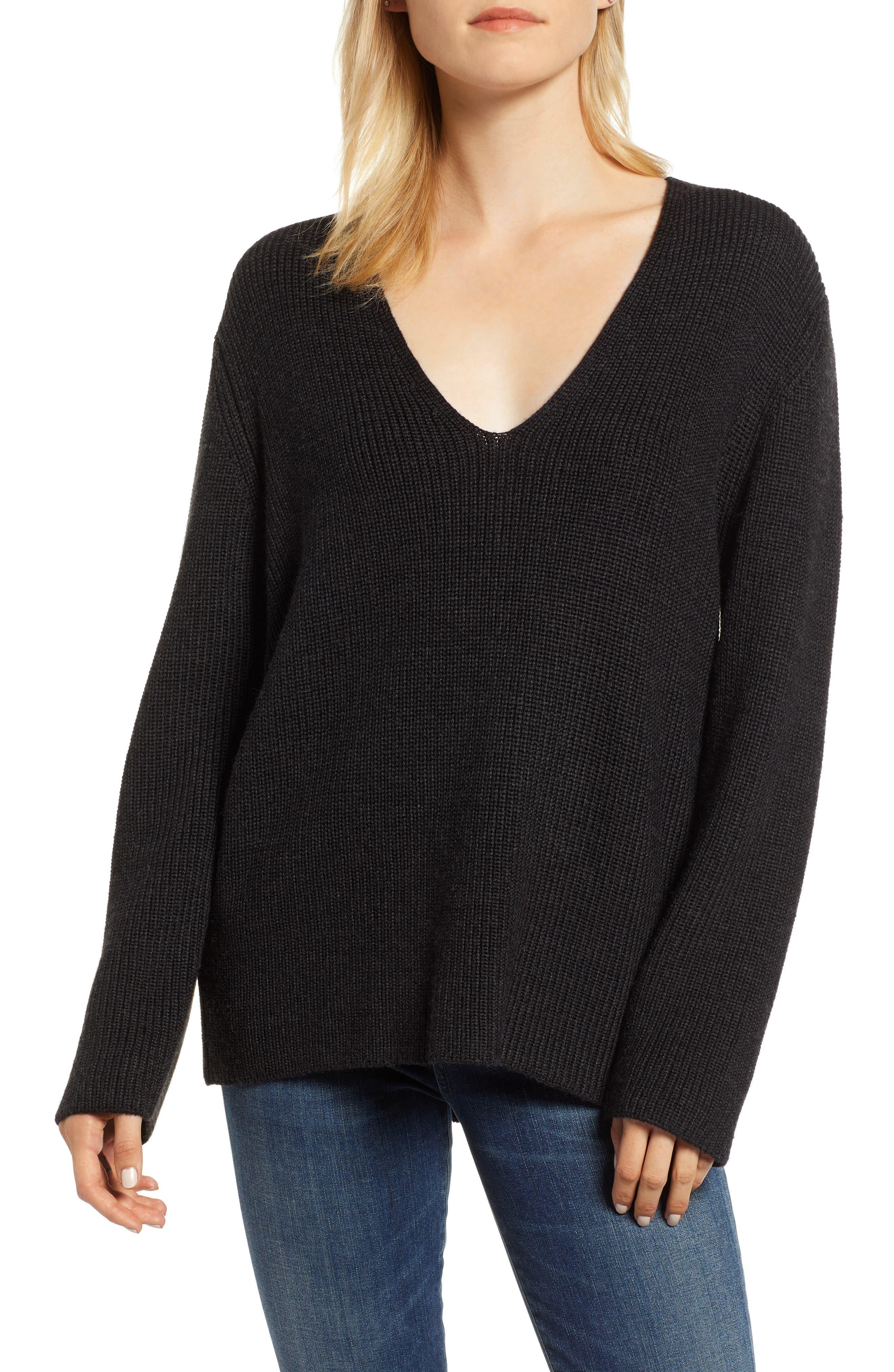 V-Neck Sweater,                             Main thumbnail 1, color,                             COAL