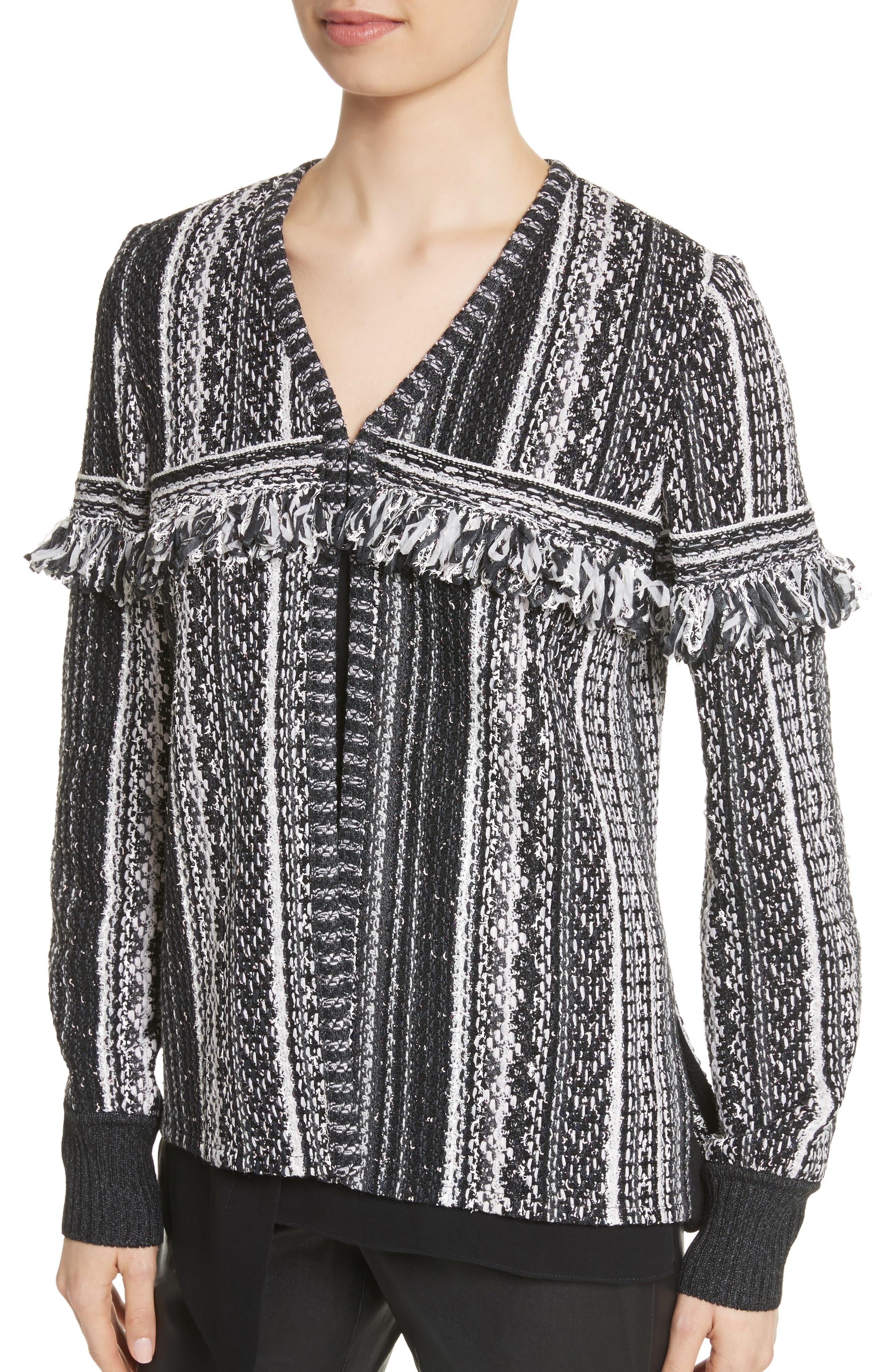 Fringe Vertical Ombré Stripe Tweed Knit Jacket,                             Alternate thumbnail 4, color,                             001