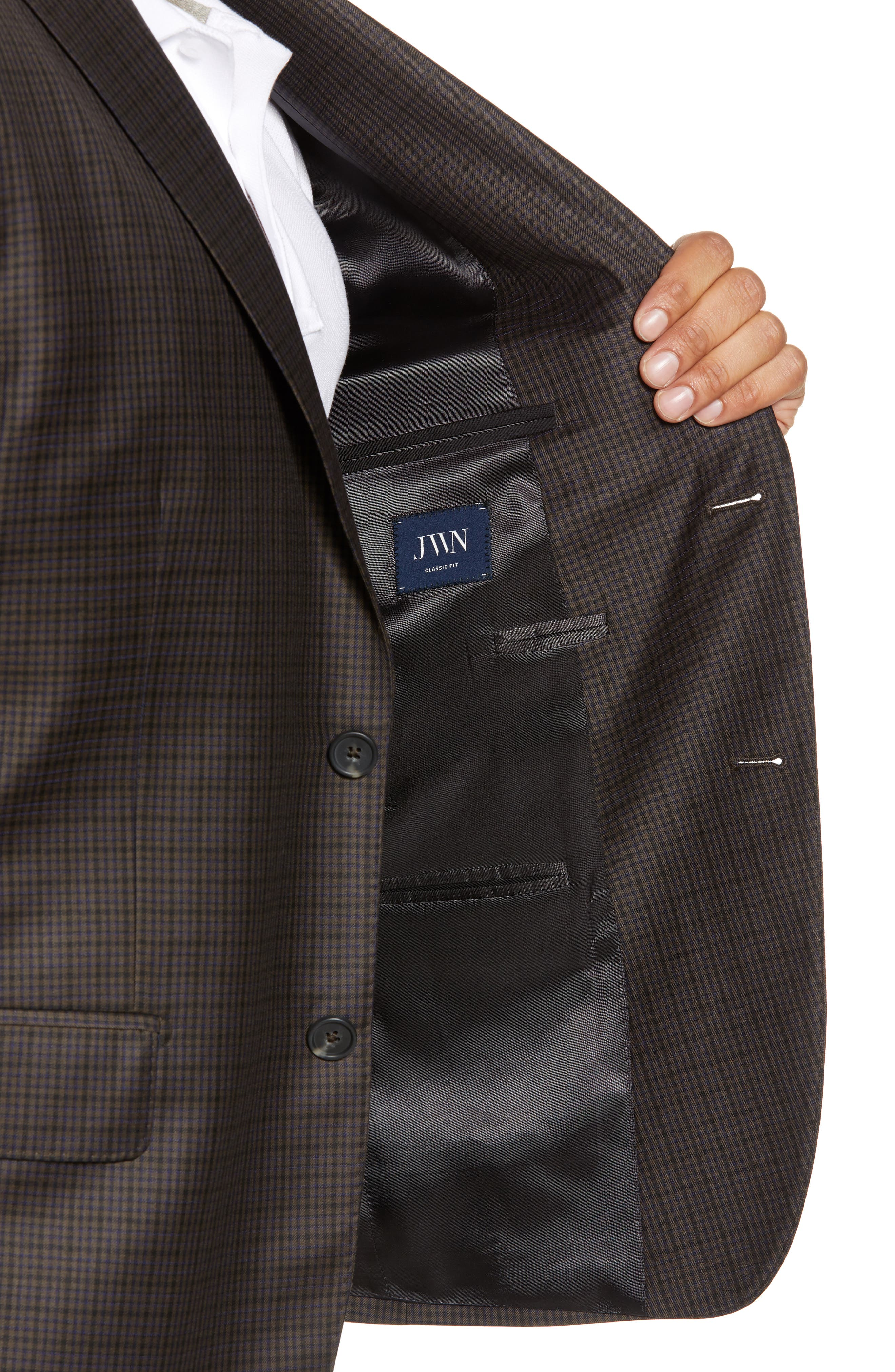 Traditional Fit Check Wool Sport Coat,                             Alternate thumbnail 4, color,                             BROWN