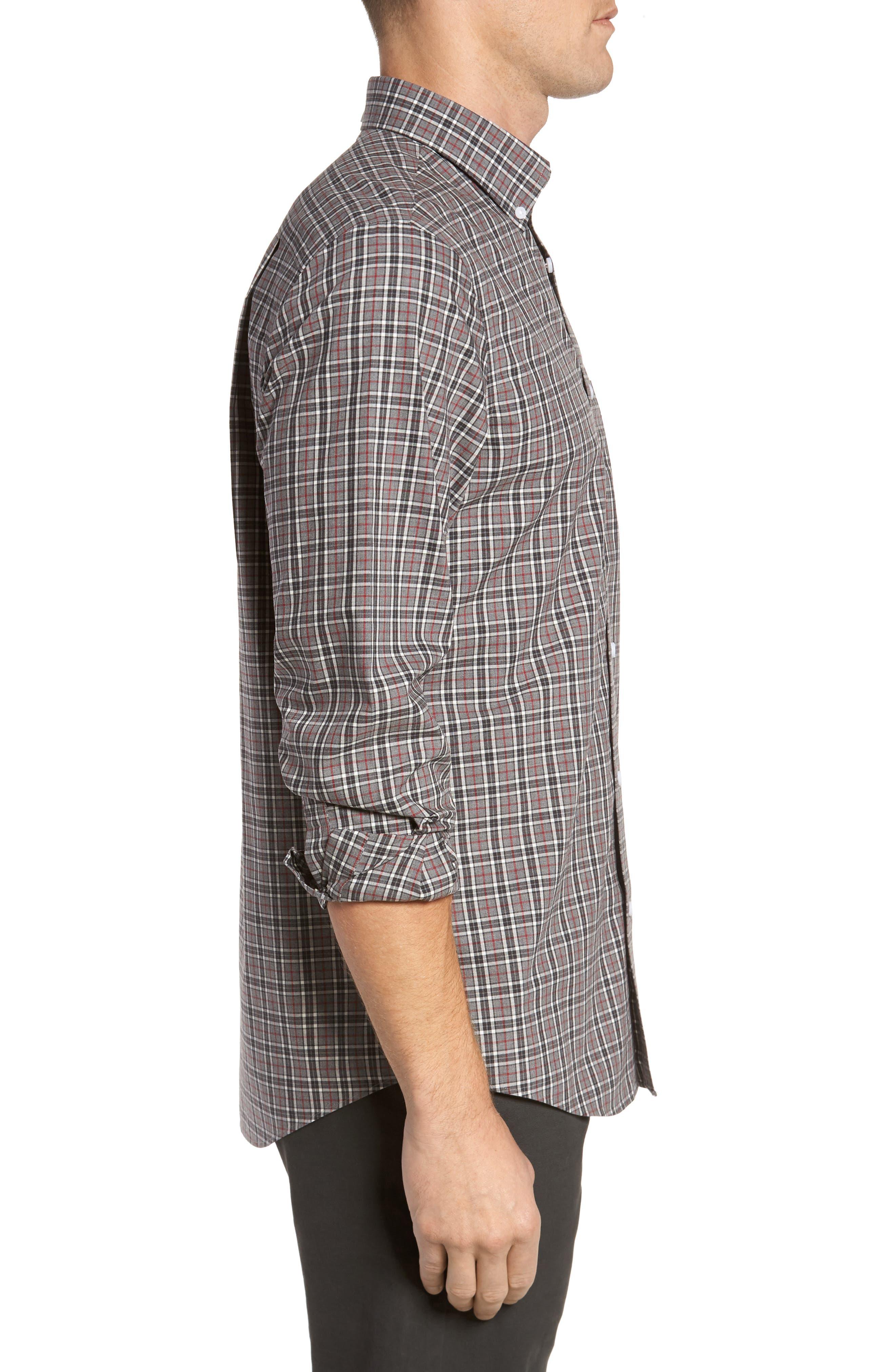 Smartcare<sup>™</sup> Regular Fit Plaid Sport Shirt,                             Alternate thumbnail 3, color,                             030
