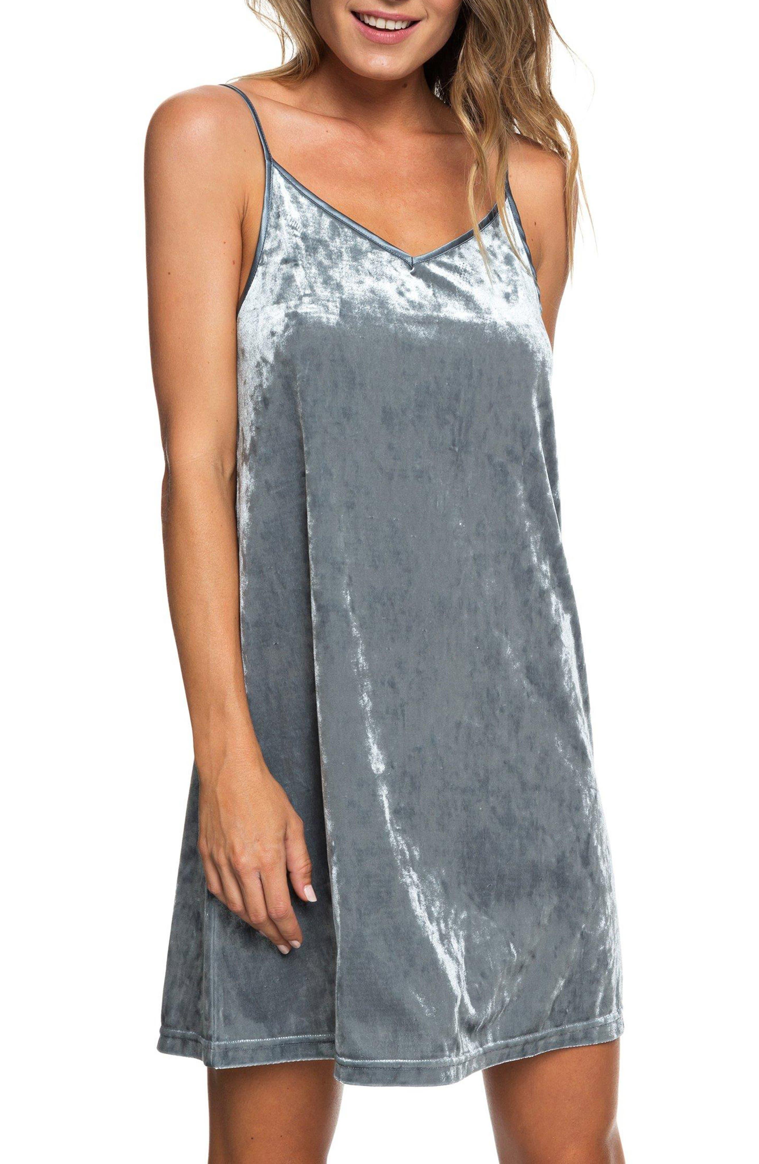 Roxy Sleepy Night Crushed Velvet Dress, Grey