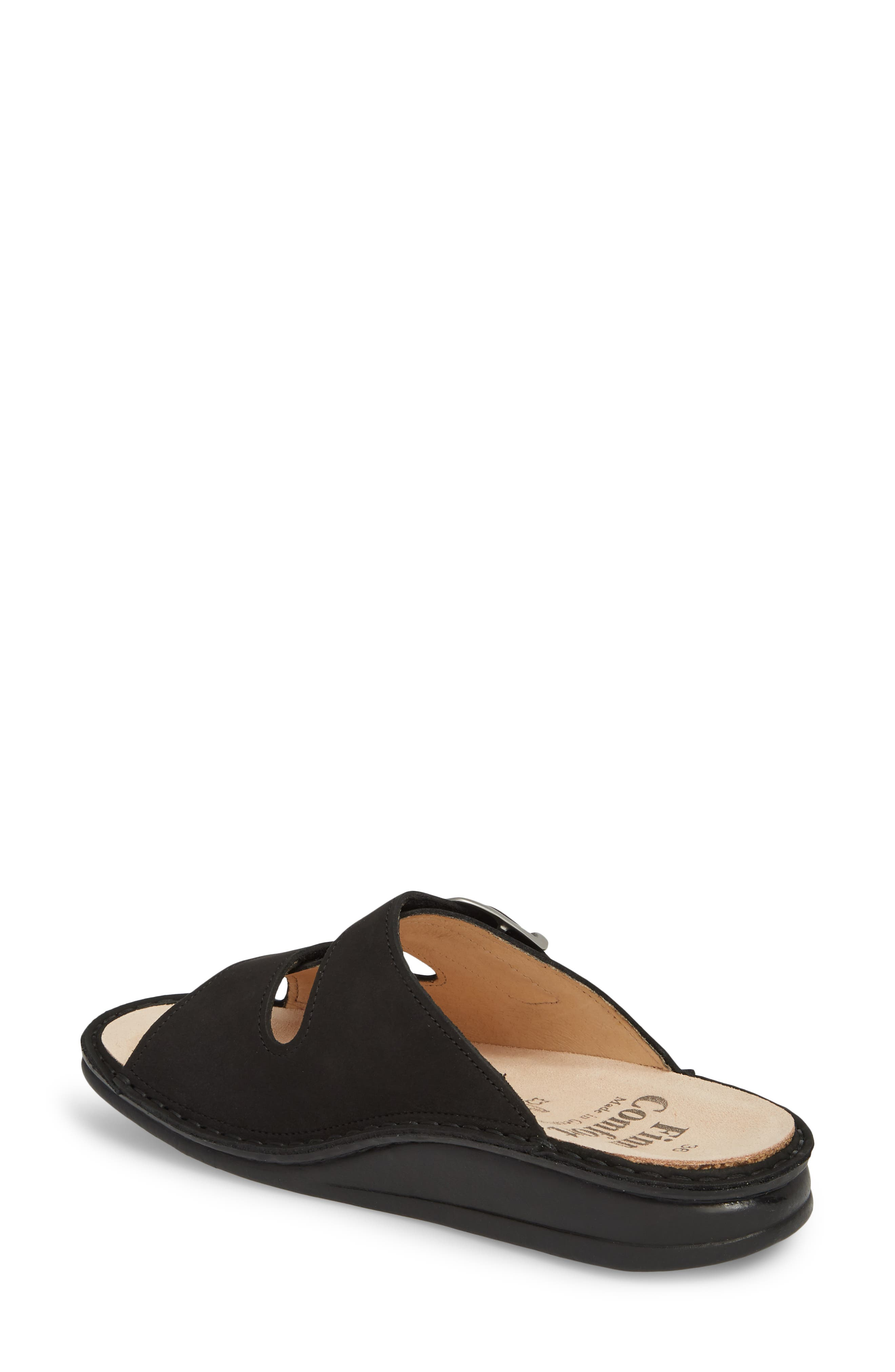 Harper Slide Sandal,                             Alternate thumbnail 2, color,                             BLACK LEATHER