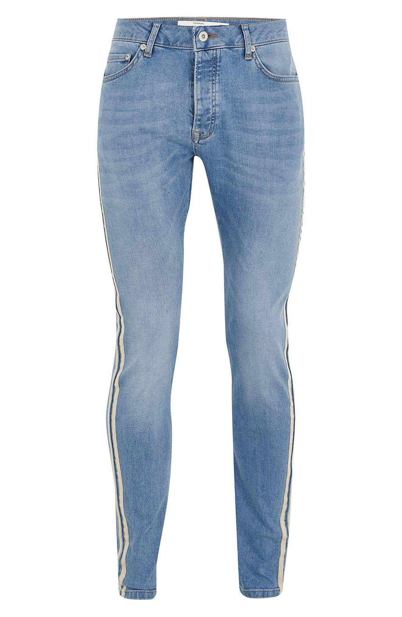 Tape Stretch Skinny Fit Jeans,                             Alternate thumbnail 5, color,                             BLUE