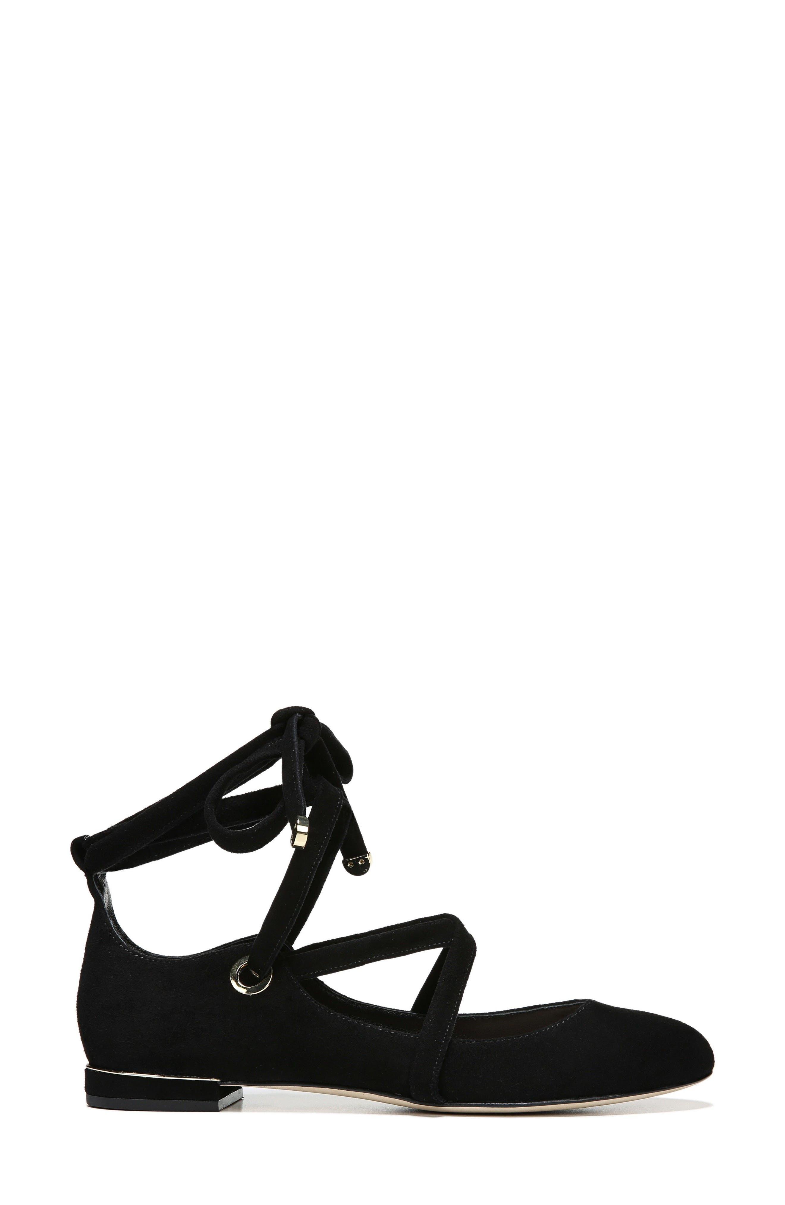 Dakar Ankle Tie Flat,                             Alternate thumbnail 3, color,                             002