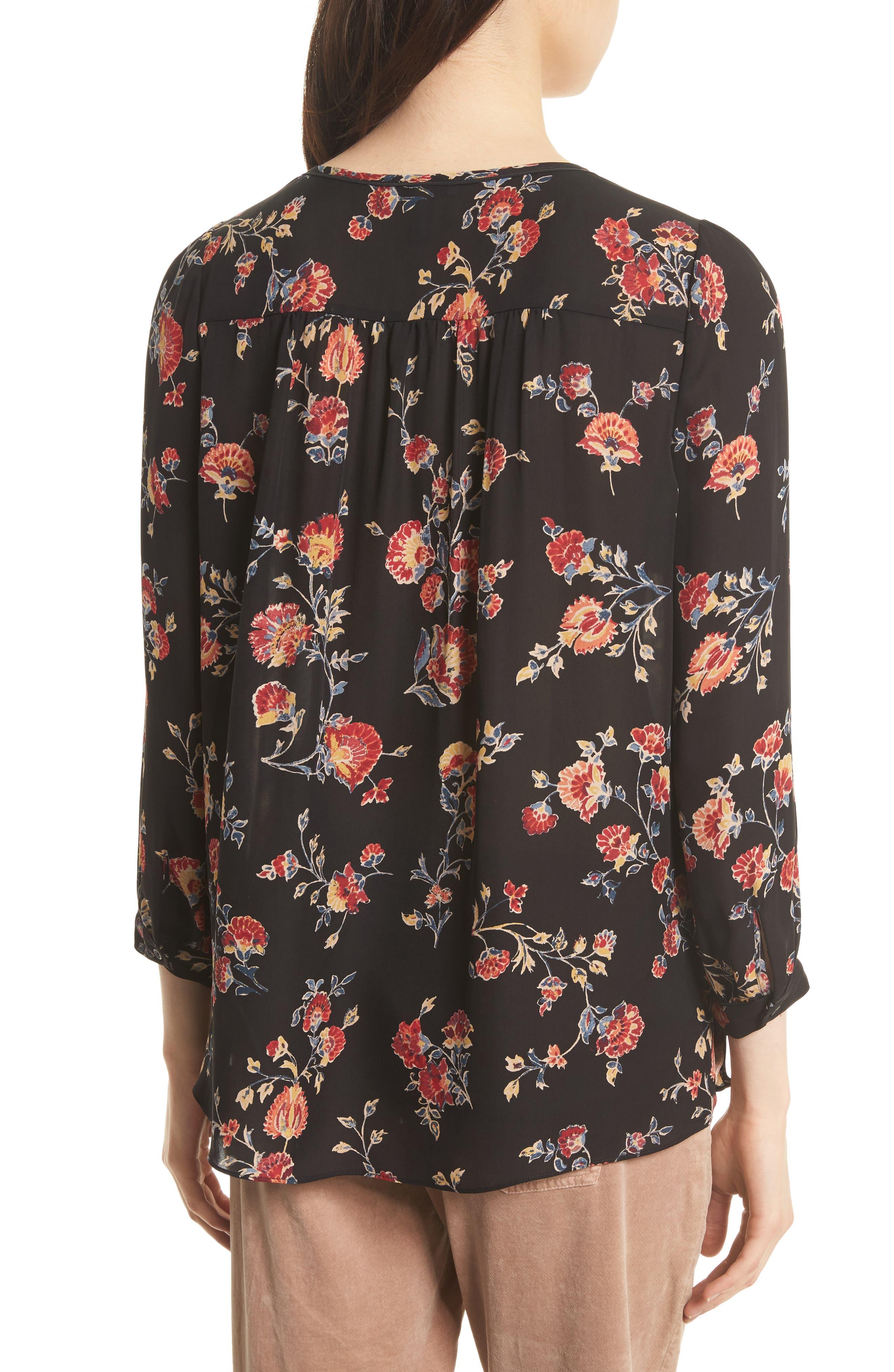 Brittin Floral Silk Top,                             Alternate thumbnail 2, color,                             007