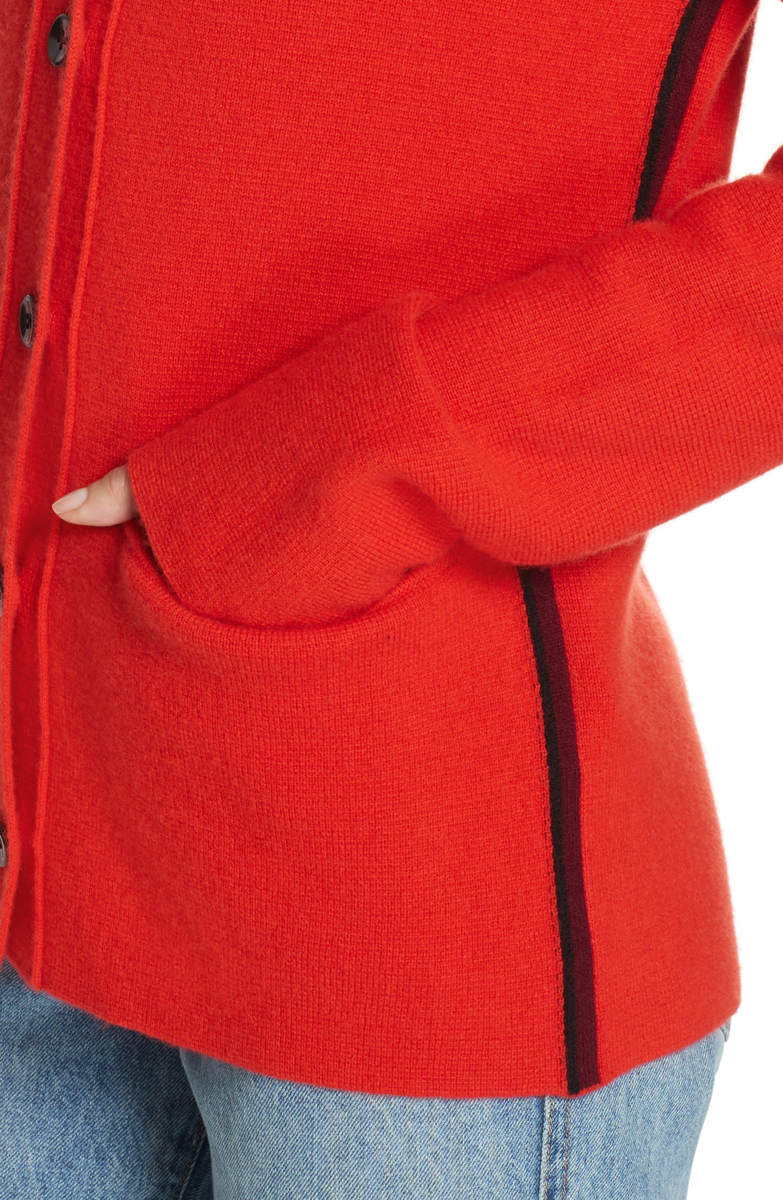PSWL Stripe Sleeve Merino Wool & Cashmere Cardigan,                             Alternate thumbnail 4, color,                             RED COMBO