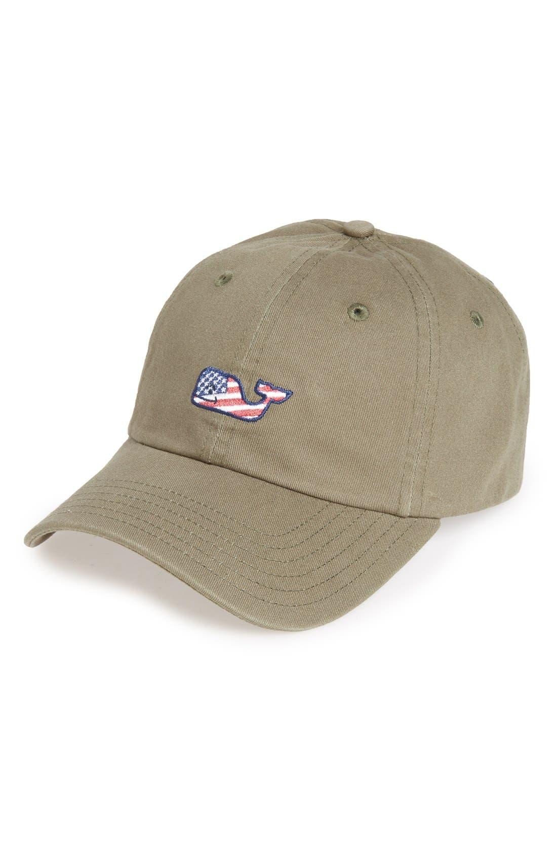 Flag Whale Logo Baseball Cap,                             Main thumbnail 1, color,                             398