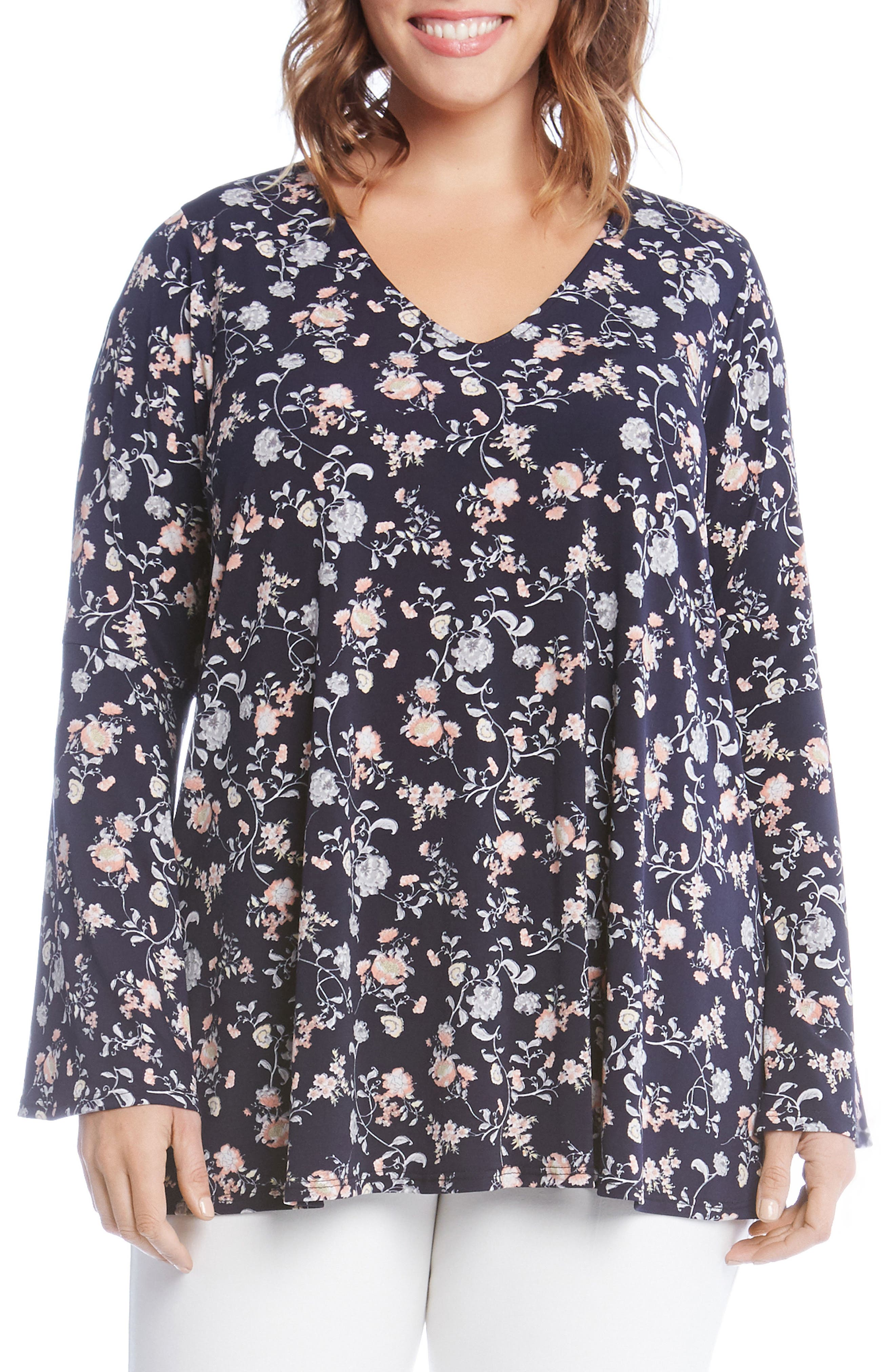 Kane Kane Bell Sleeve Floral Top,                             Main thumbnail 1, color,                             460