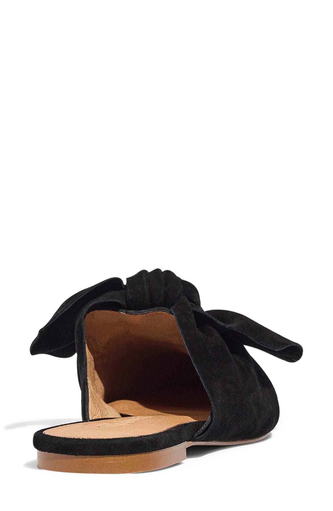 The Remi Bow Mule,                             Alternate thumbnail 9, color,                             TRUE BLACK SUEDE