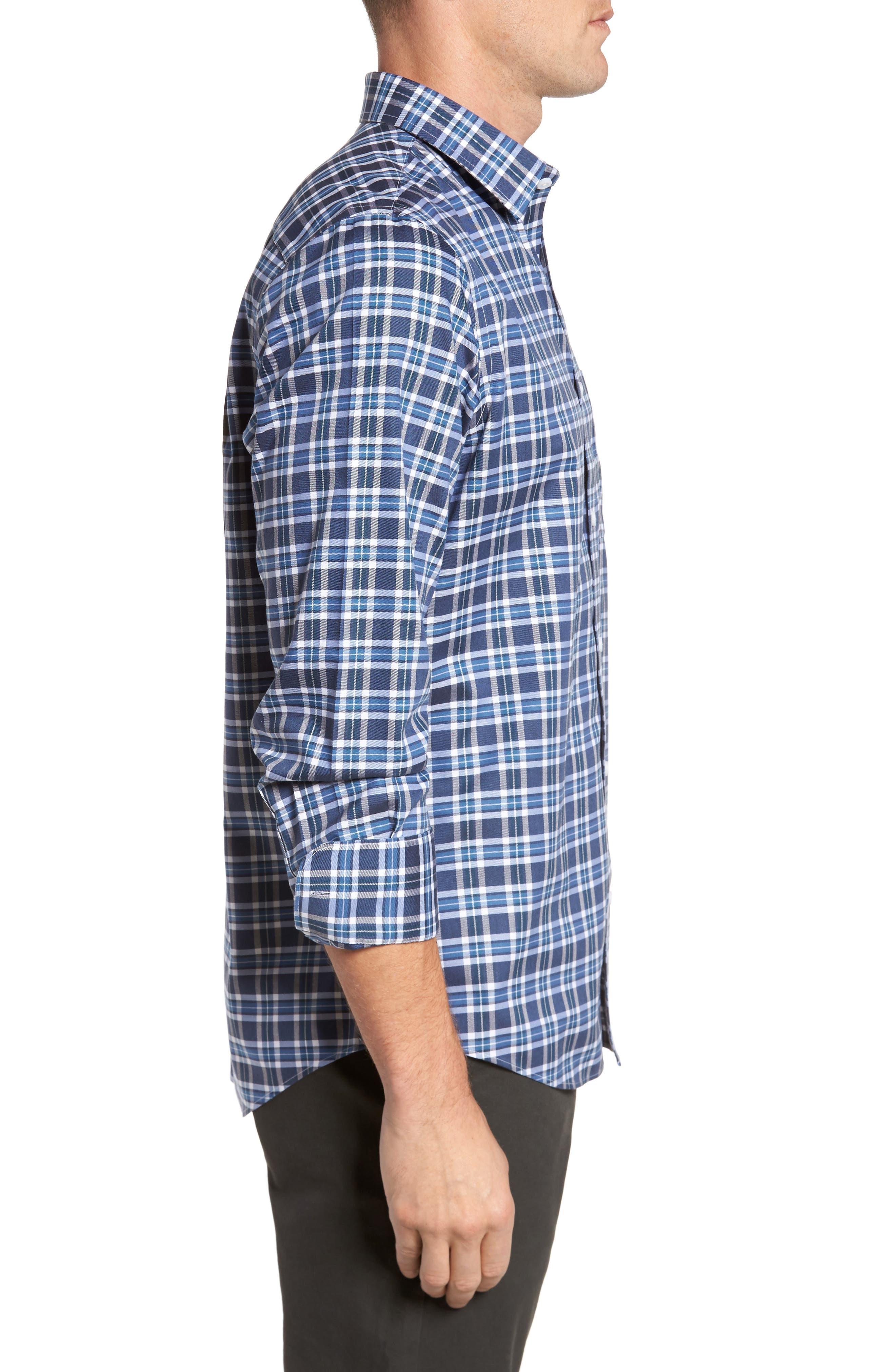 Smartcare<sup>™</sup> Regular Fit Plaid Sport Shirt,                             Alternate thumbnail 19, color,