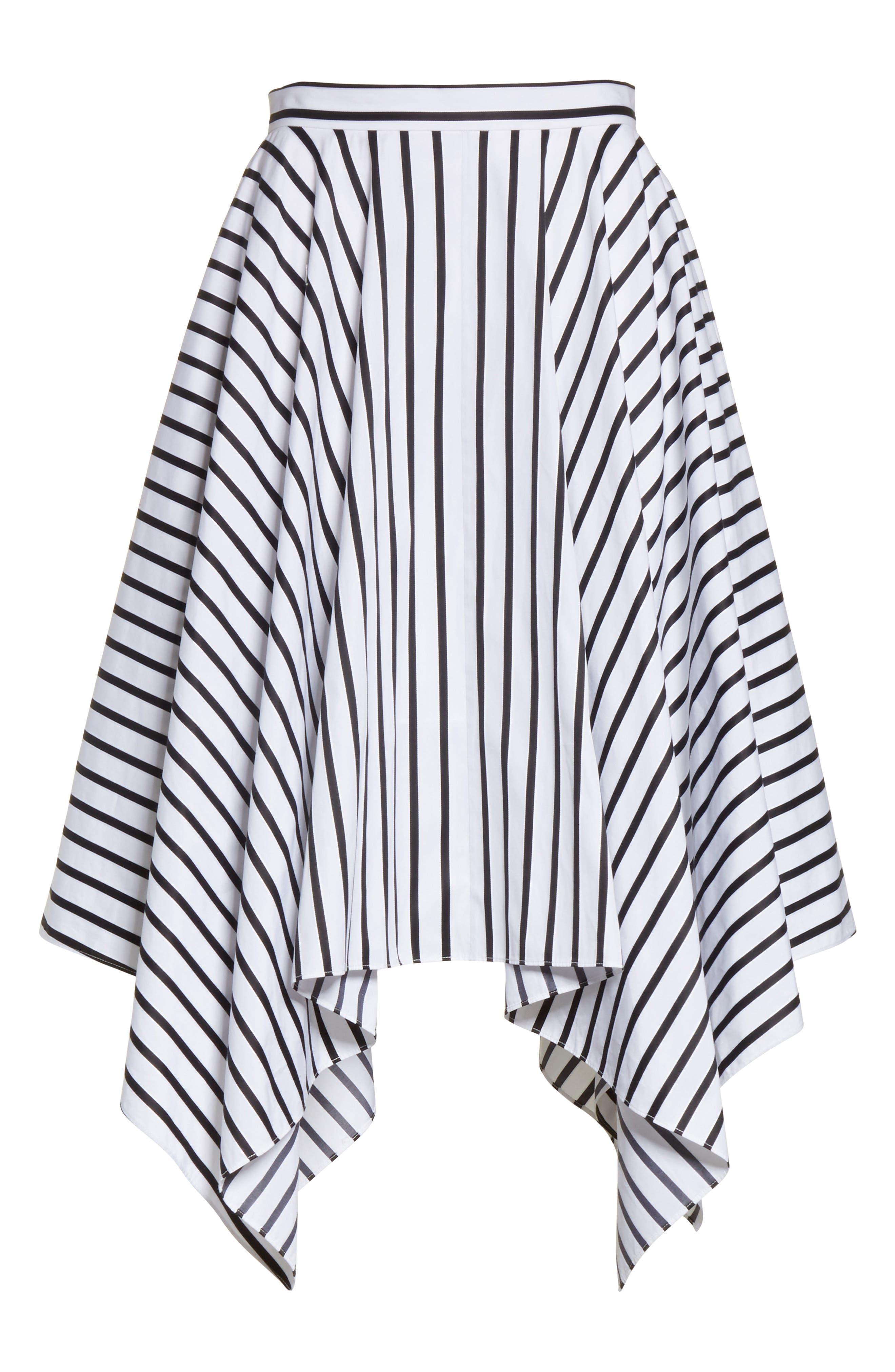Stripe Cotton Asymmetrical Skirt,                             Alternate thumbnail 6, color,                             001