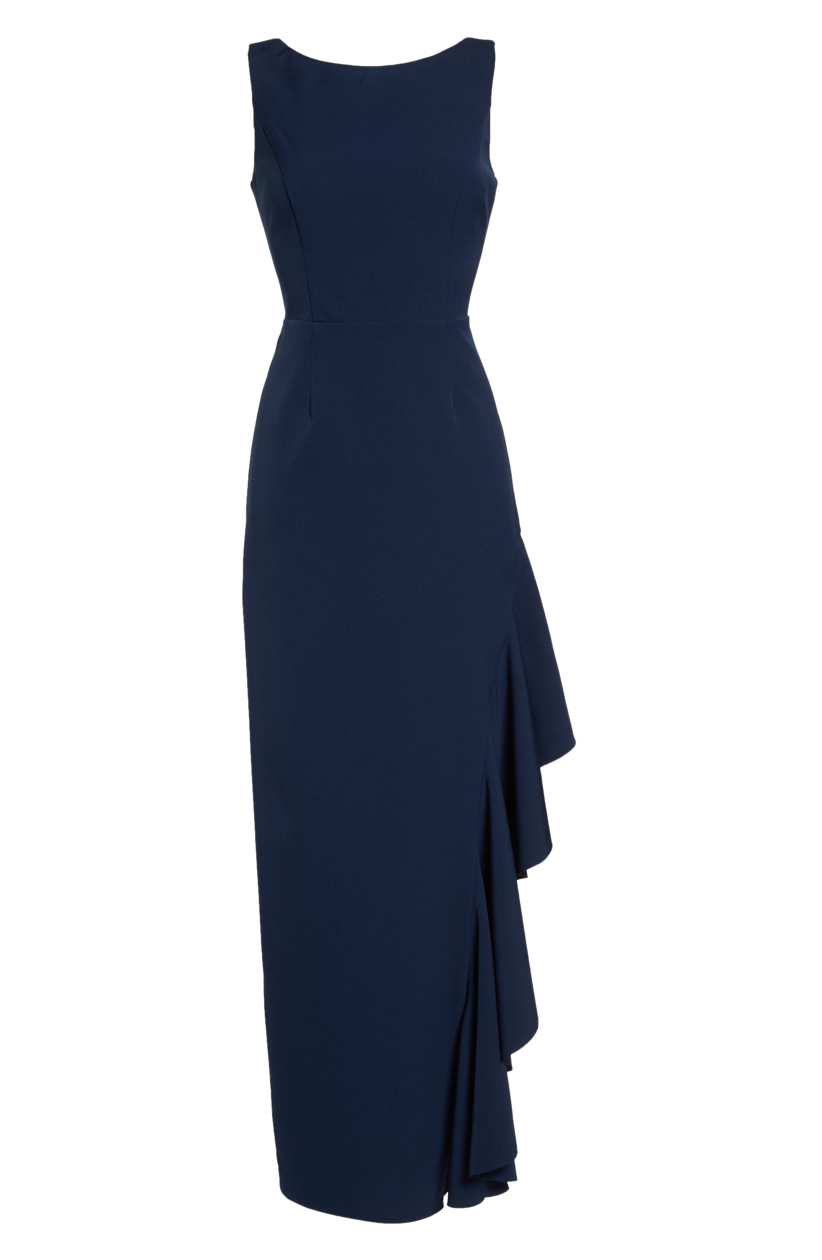 Ruffle Gown,                             Alternate thumbnail 7, color,                             NAVY