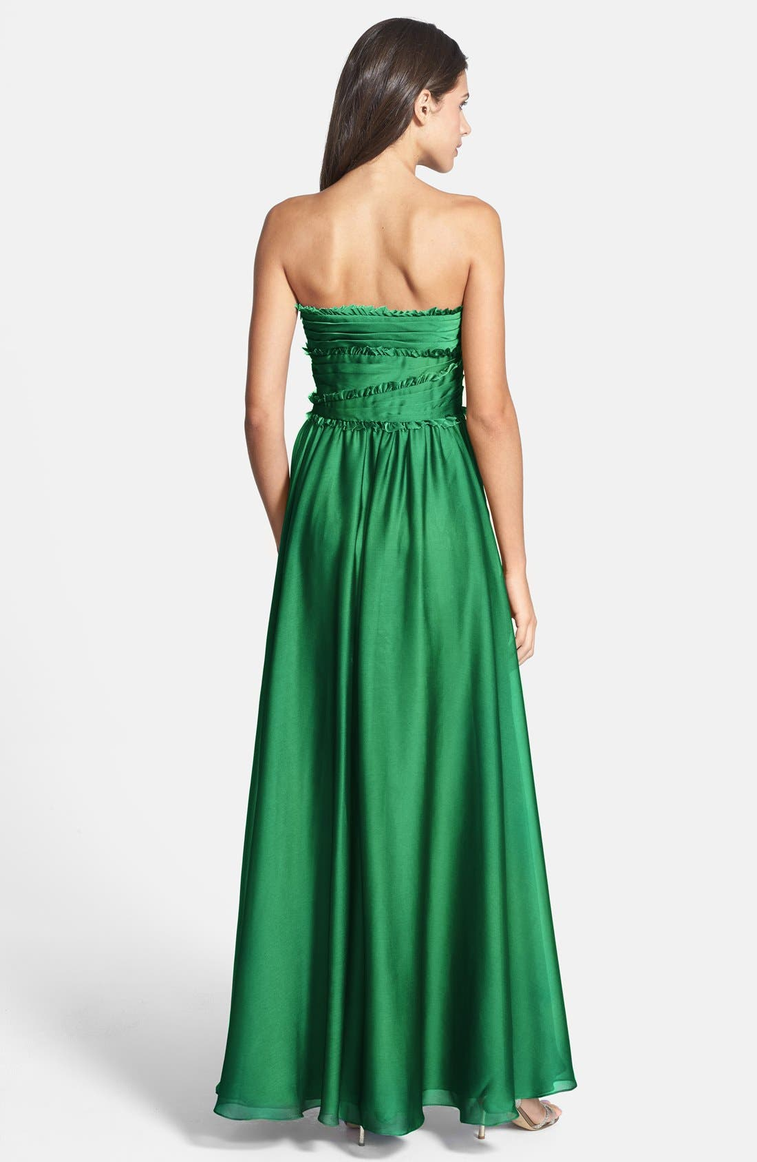 ML Monique Lhuillier Bridesmaids Strapless Chiffon Gown,                             Alternate thumbnail 39, color,
