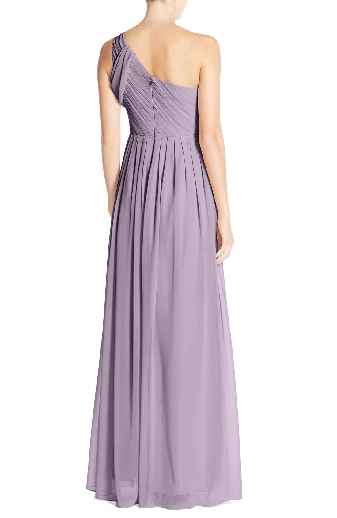 'Chloe' One-Shoulder Pleat Chiffon Gown,                             Alternate thumbnail 9, color,