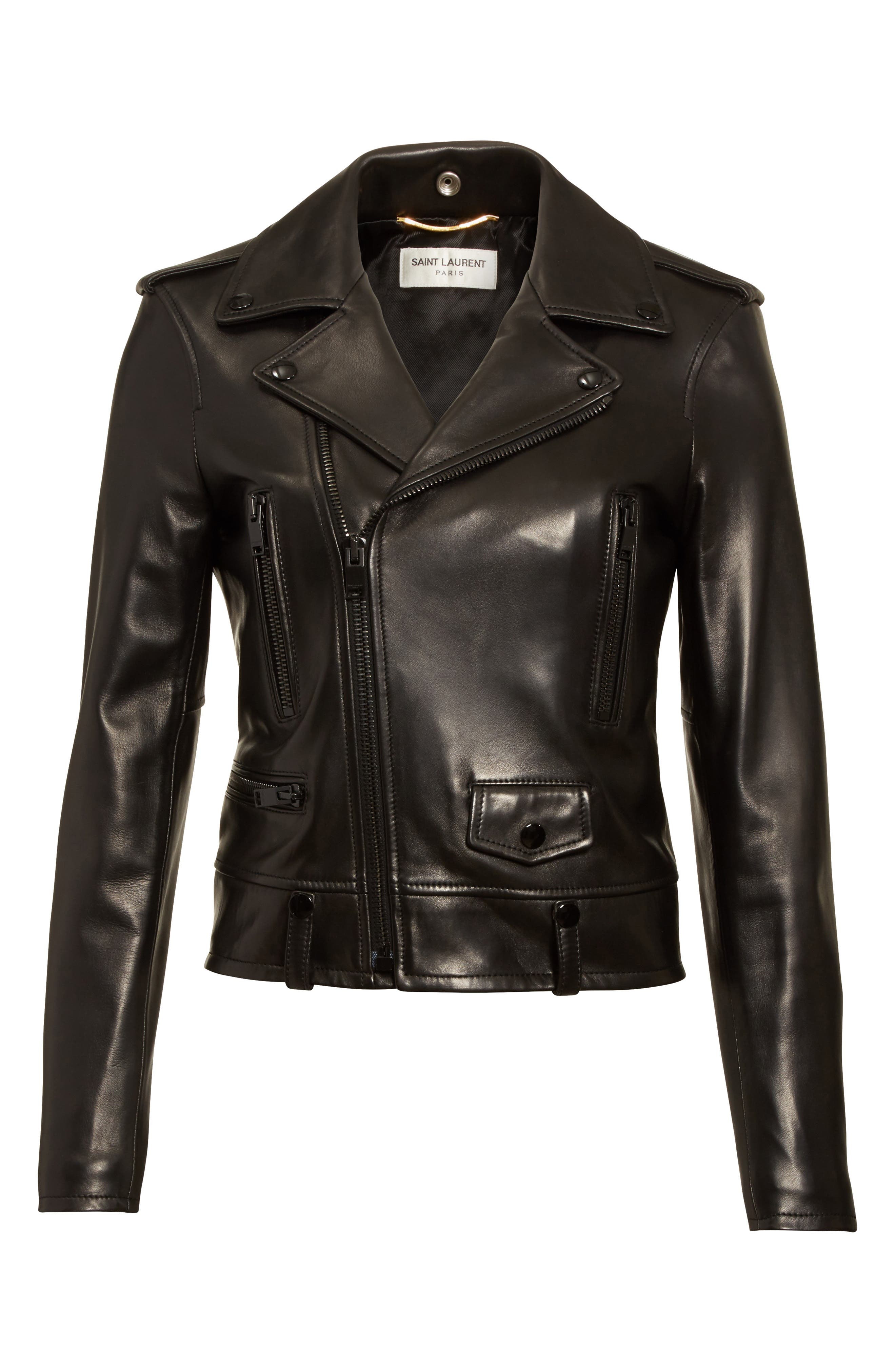 Leather Moto Jacket,                             Alternate thumbnail 5, color,                             GRANITO