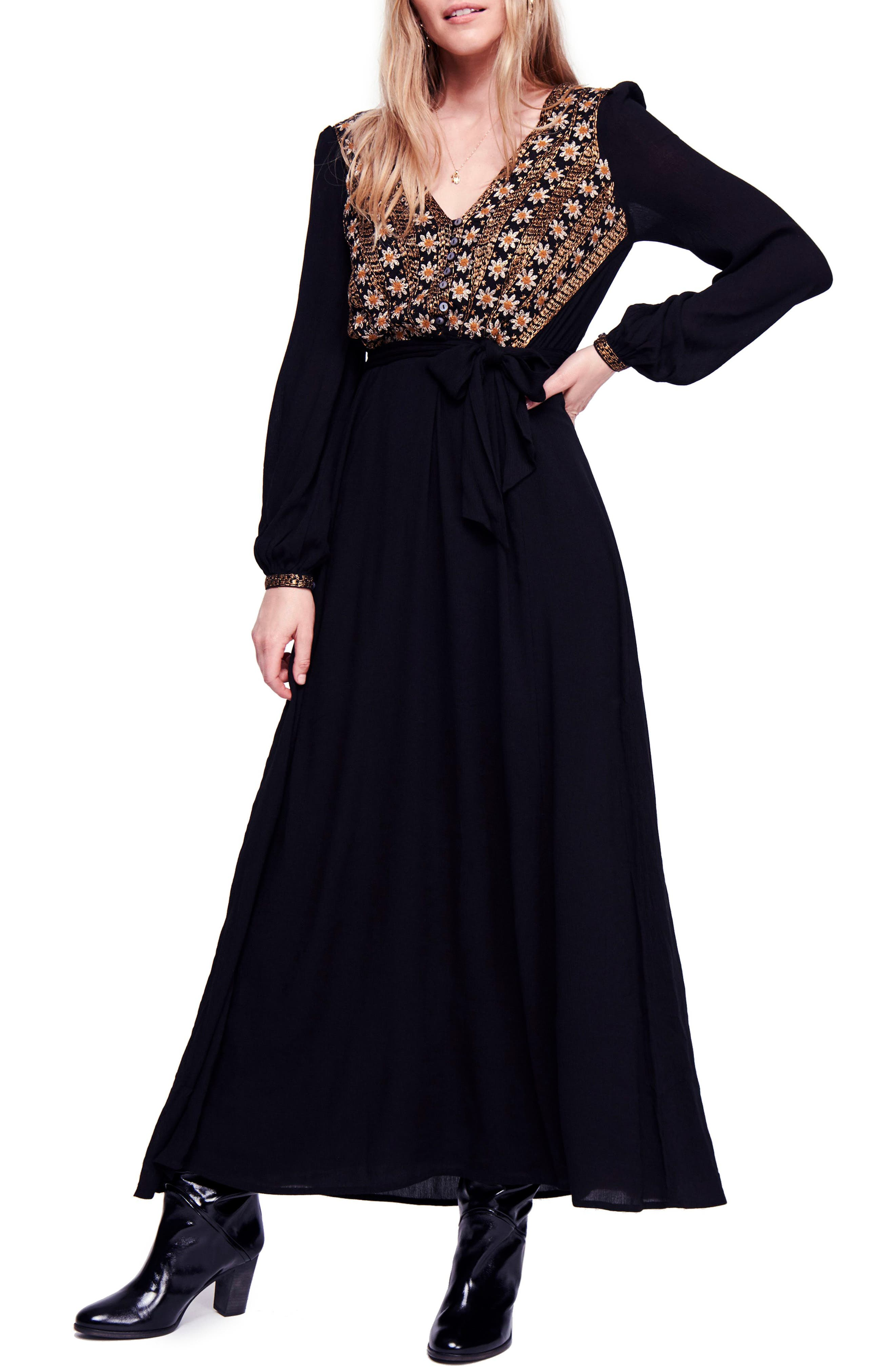70s Dresses – Disco Dresses, Hippie Dresses, Wrap Dresses Womens Free People Hearts Desire Embroidered Maxi Dress Size X-Small - Black $198.00 AT vintagedancer.com