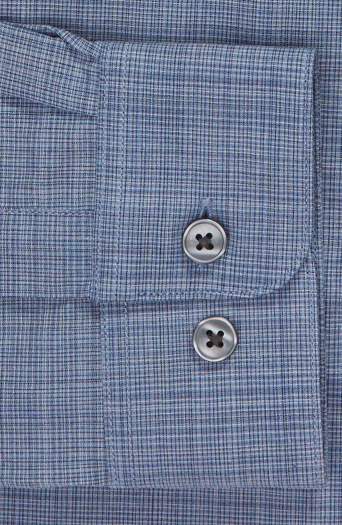 Slim Fit Check Dress Shirt,                             Alternate thumbnail 6, color,                             BLUE HEATHER
