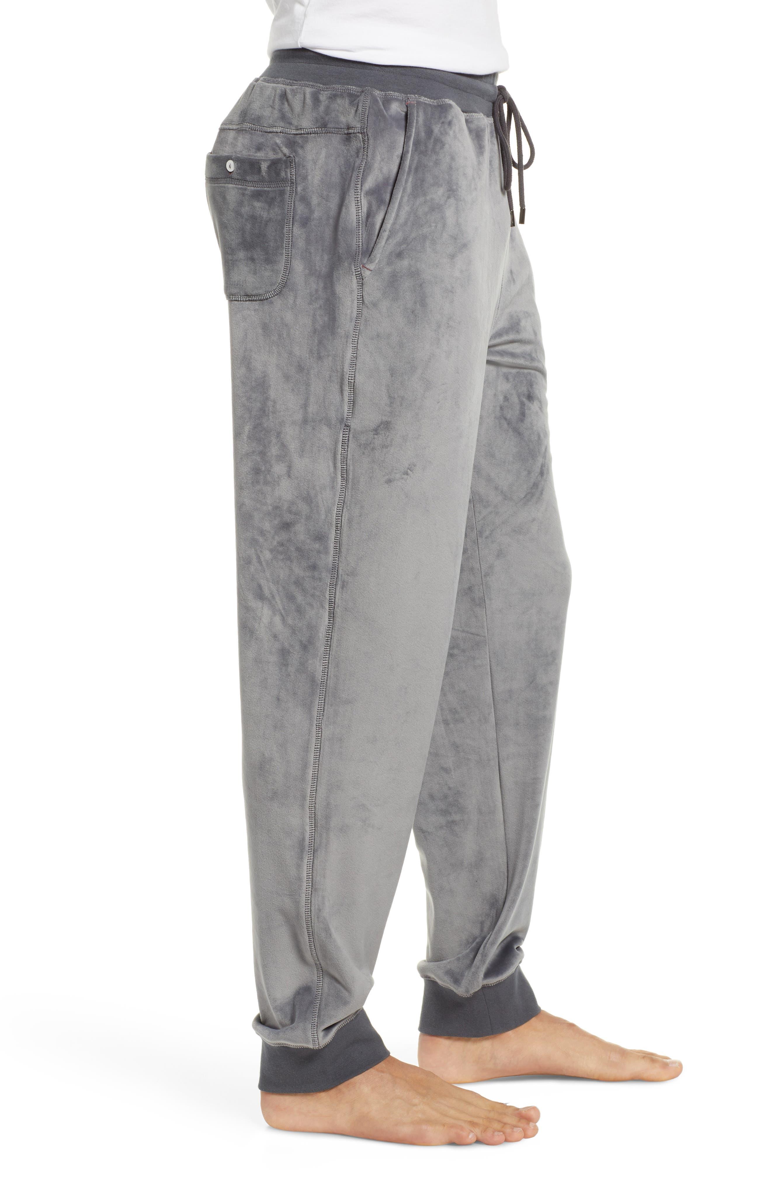 Velour Lounge Pants,                             Alternate thumbnail 3, color,                             GREY