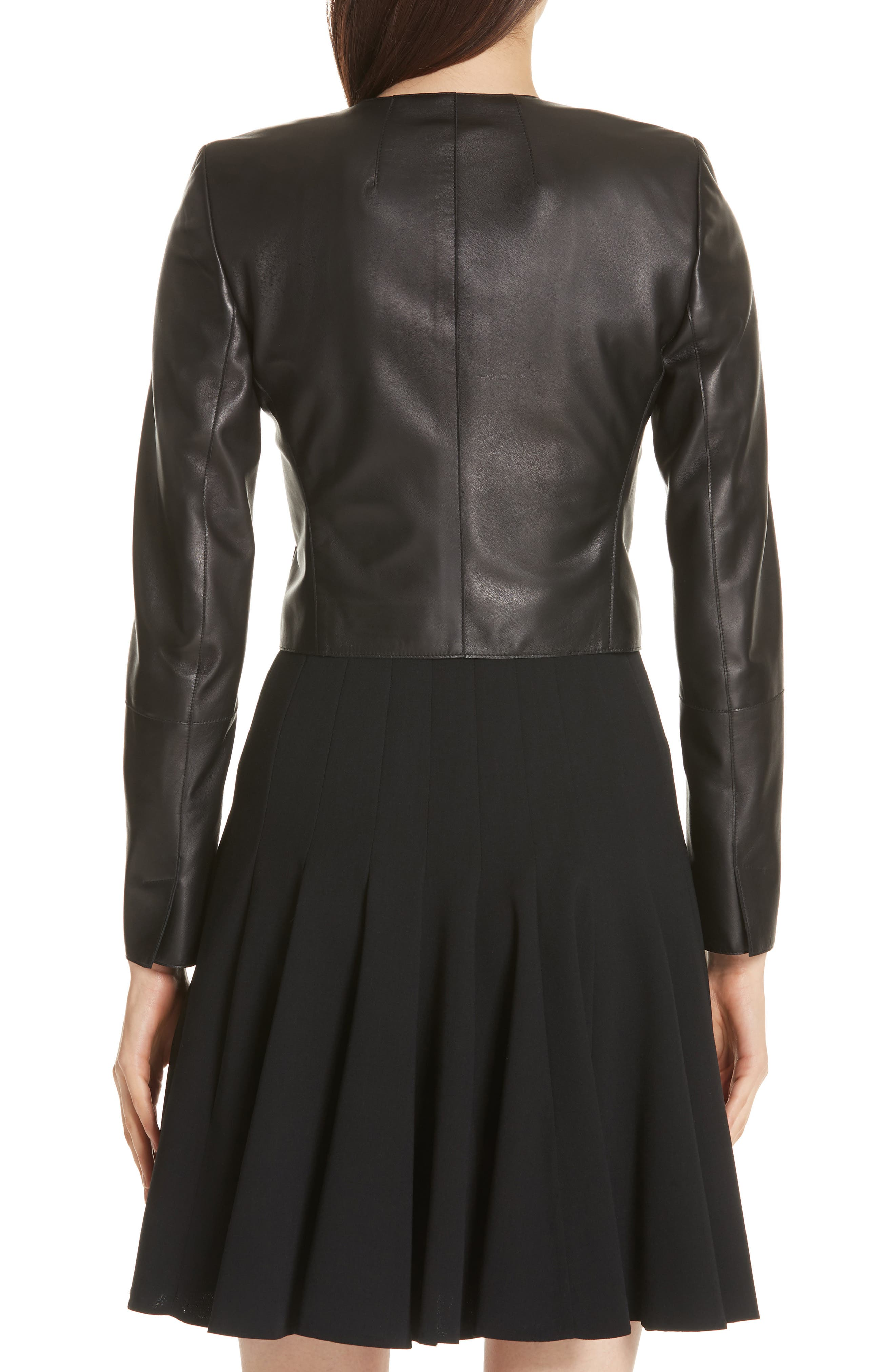 'Hasso' Leather Crop Jacket,                             Alternate thumbnail 3, color,                             BLACK