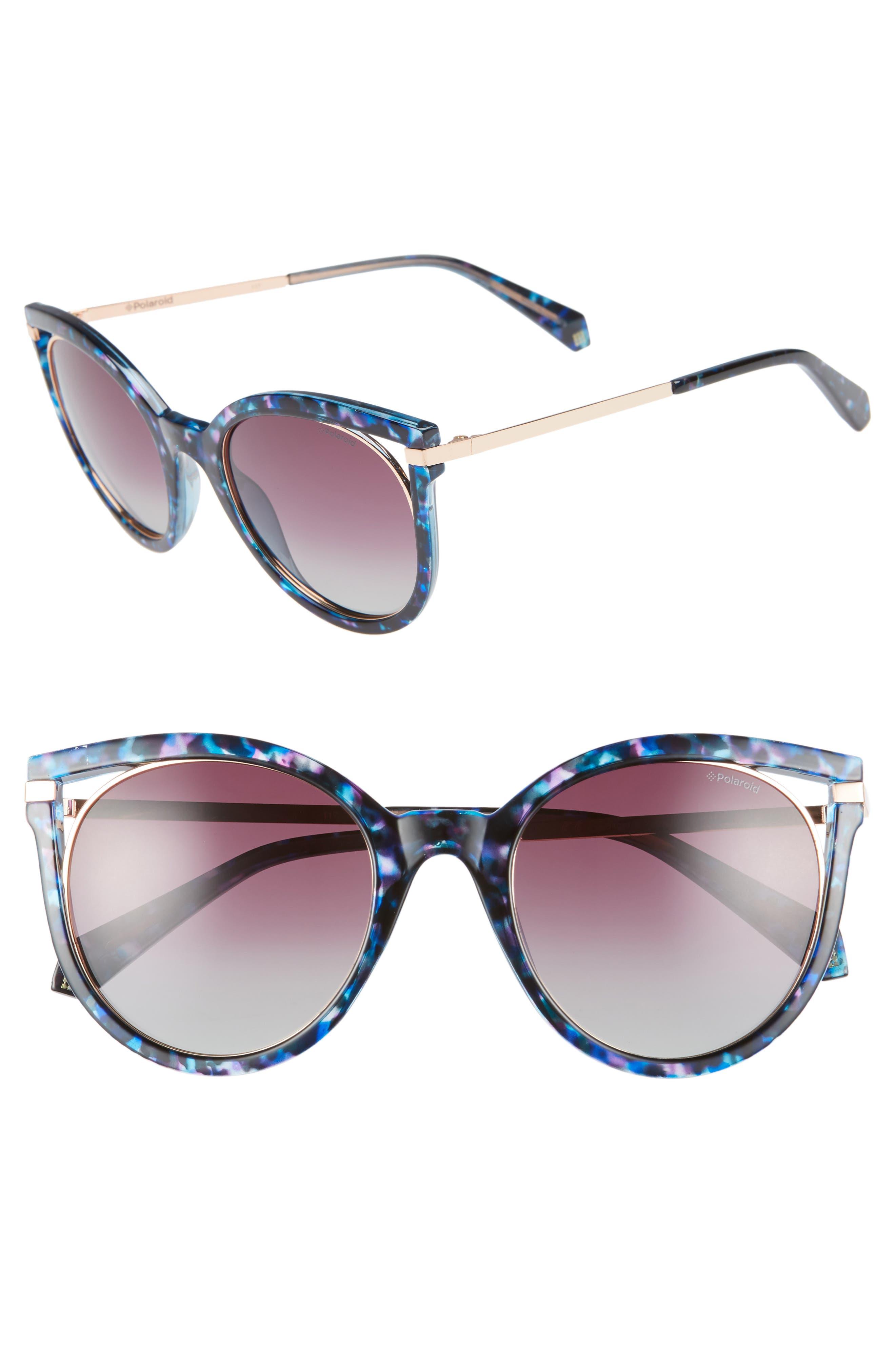Polaroid 51Mm Cutout Polarized Cat Eye Sunglasses - Blue Havana