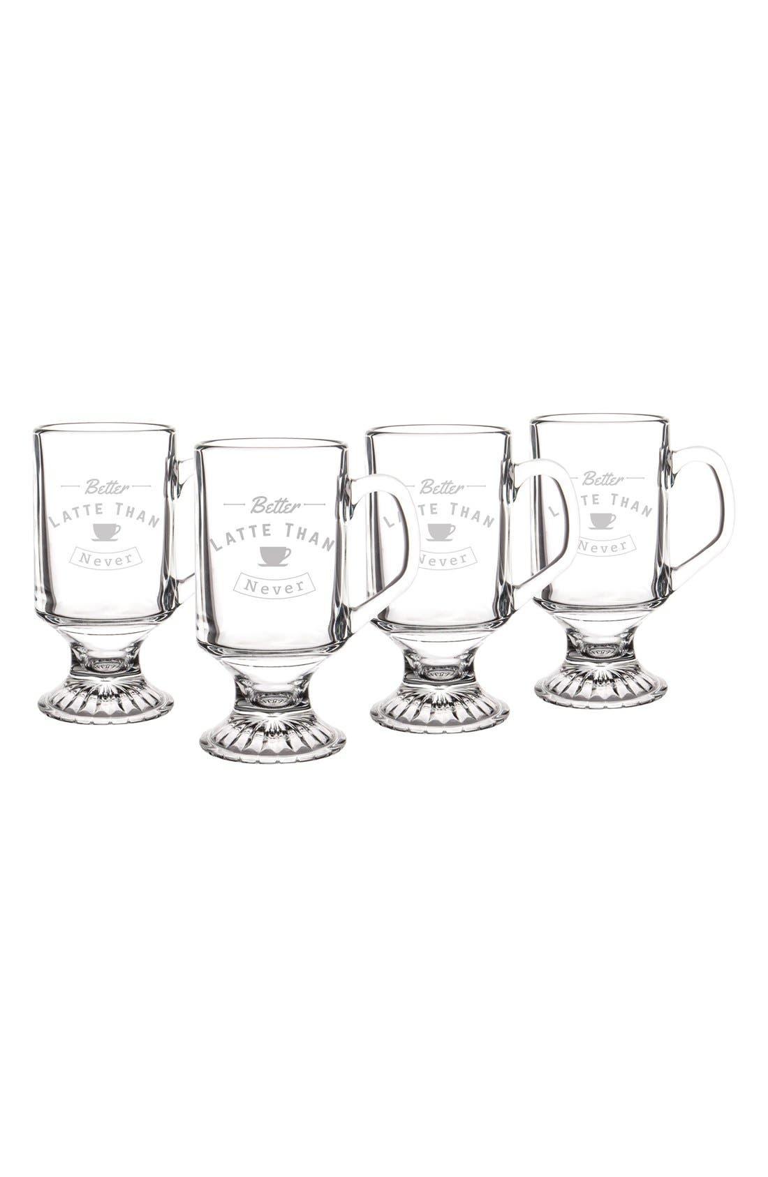 Better Latte Than Never Set of 4 Glass Mugs,                             Alternate thumbnail 2, color,