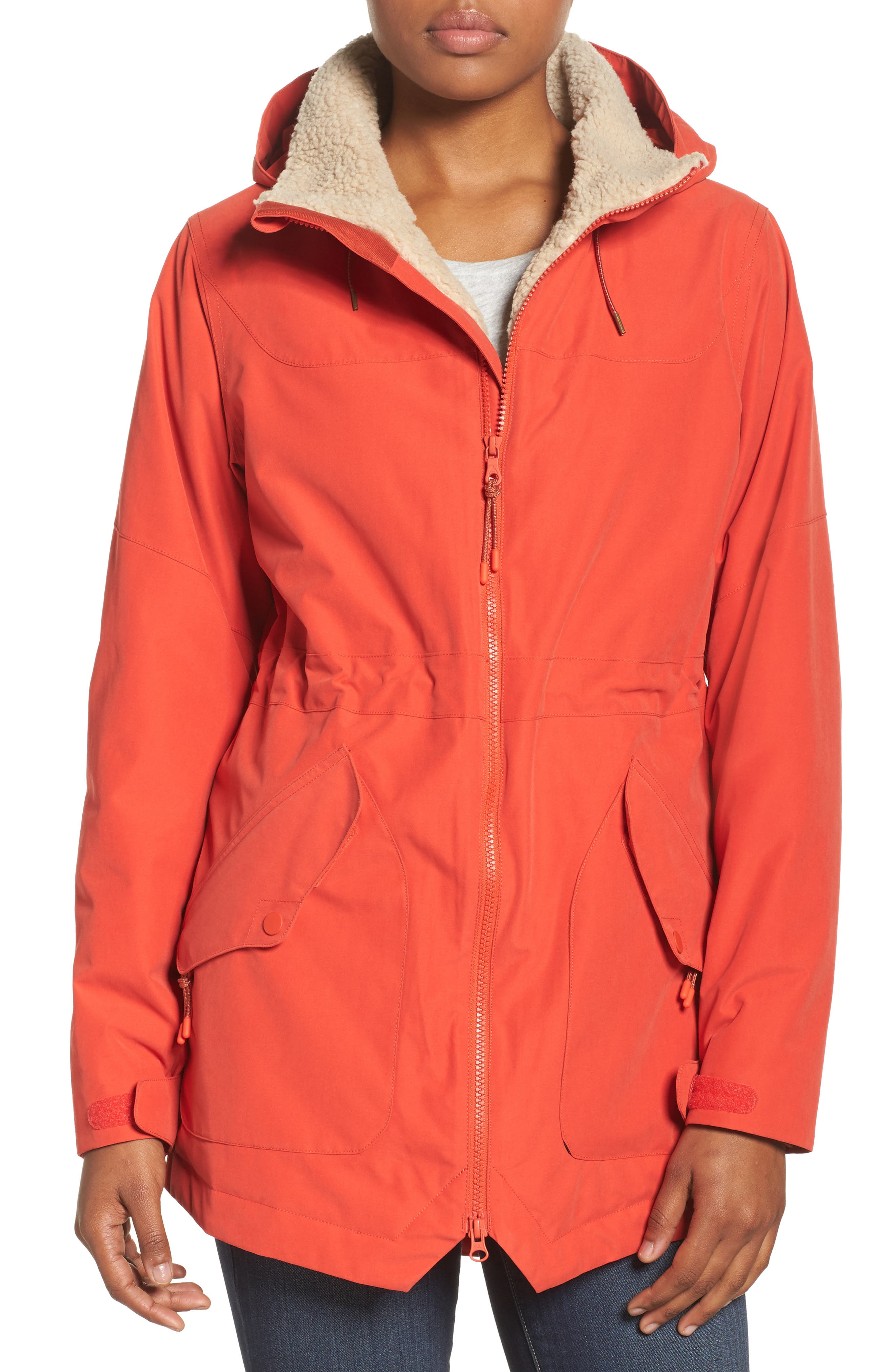 Prowess Fleece Lined Water Resistant Jacket,                             Main thumbnail 1, color,                             FIERY RED SUEDED
