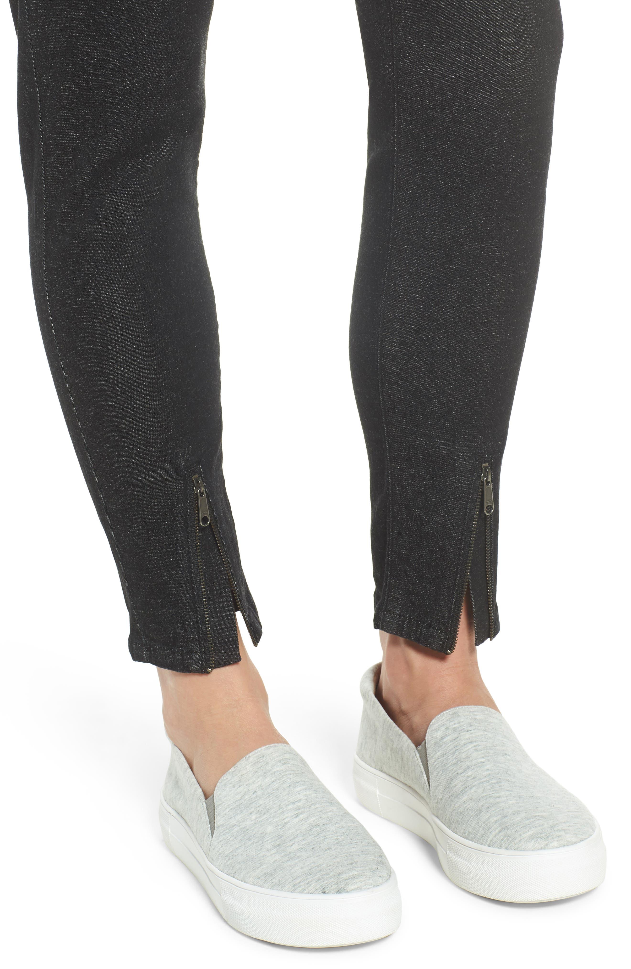 Ankle Zip Denim Leggings,                             Alternate thumbnail 4, color,                             BLACK
