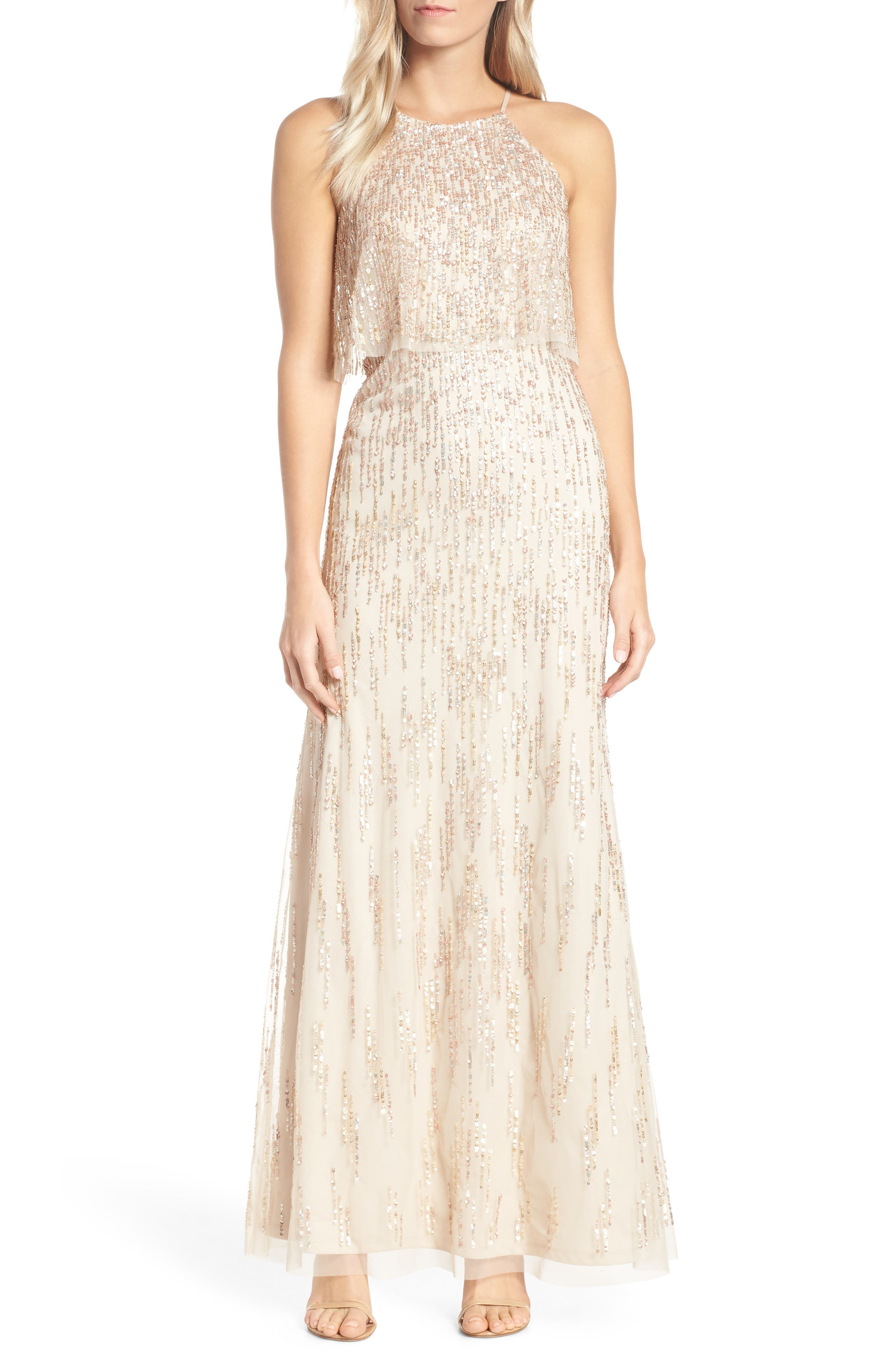 Adrianna Papell Beaded Evening Dress, Ivory