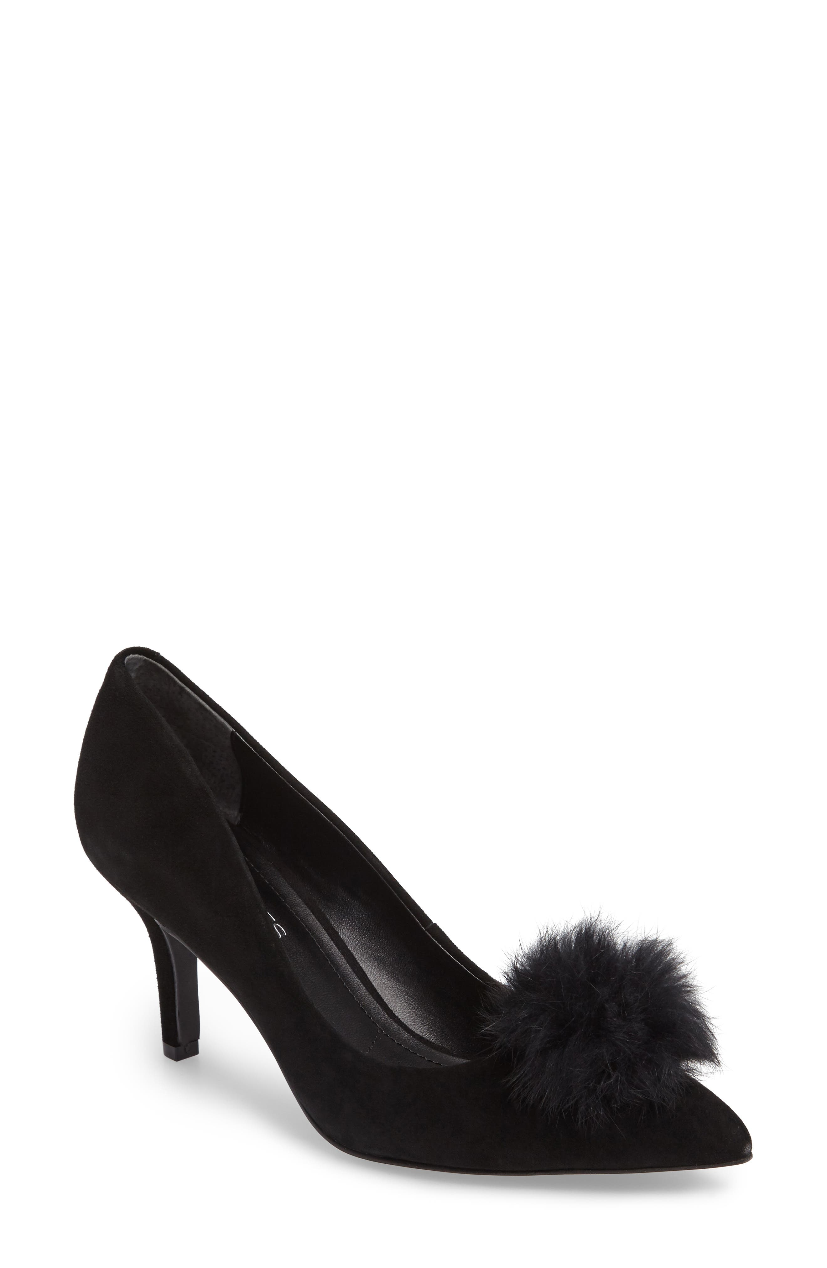 Sadie Genuine Rabbit Fur Pom Pump,                             Main thumbnail 1, color,                             001