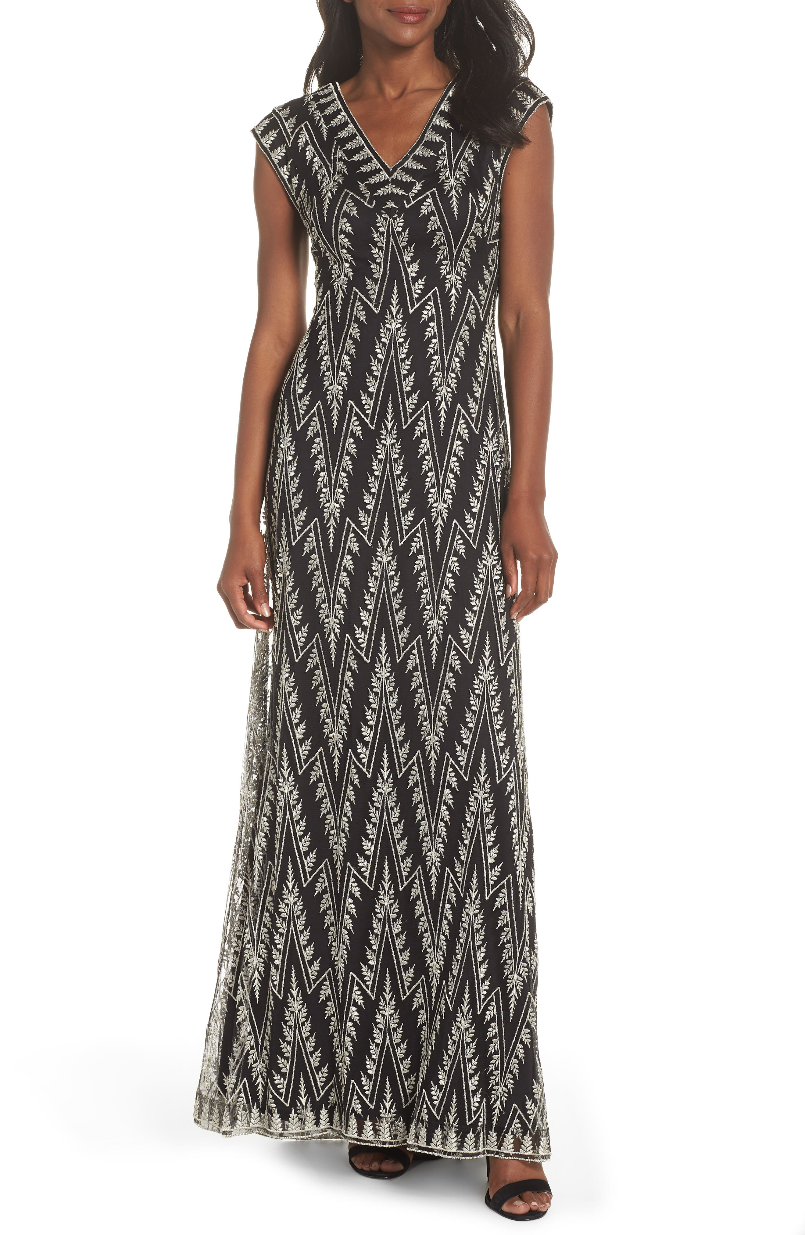 Embroidered V-Neck Gown,                         Main,                         color, BLACK/ SILVER