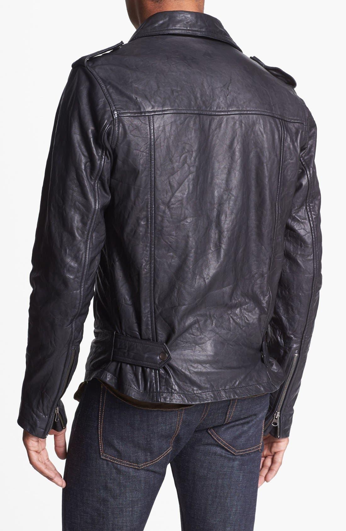 'Crosstown' Leather Biker Jacket,                             Alternate thumbnail 2, color,                             001