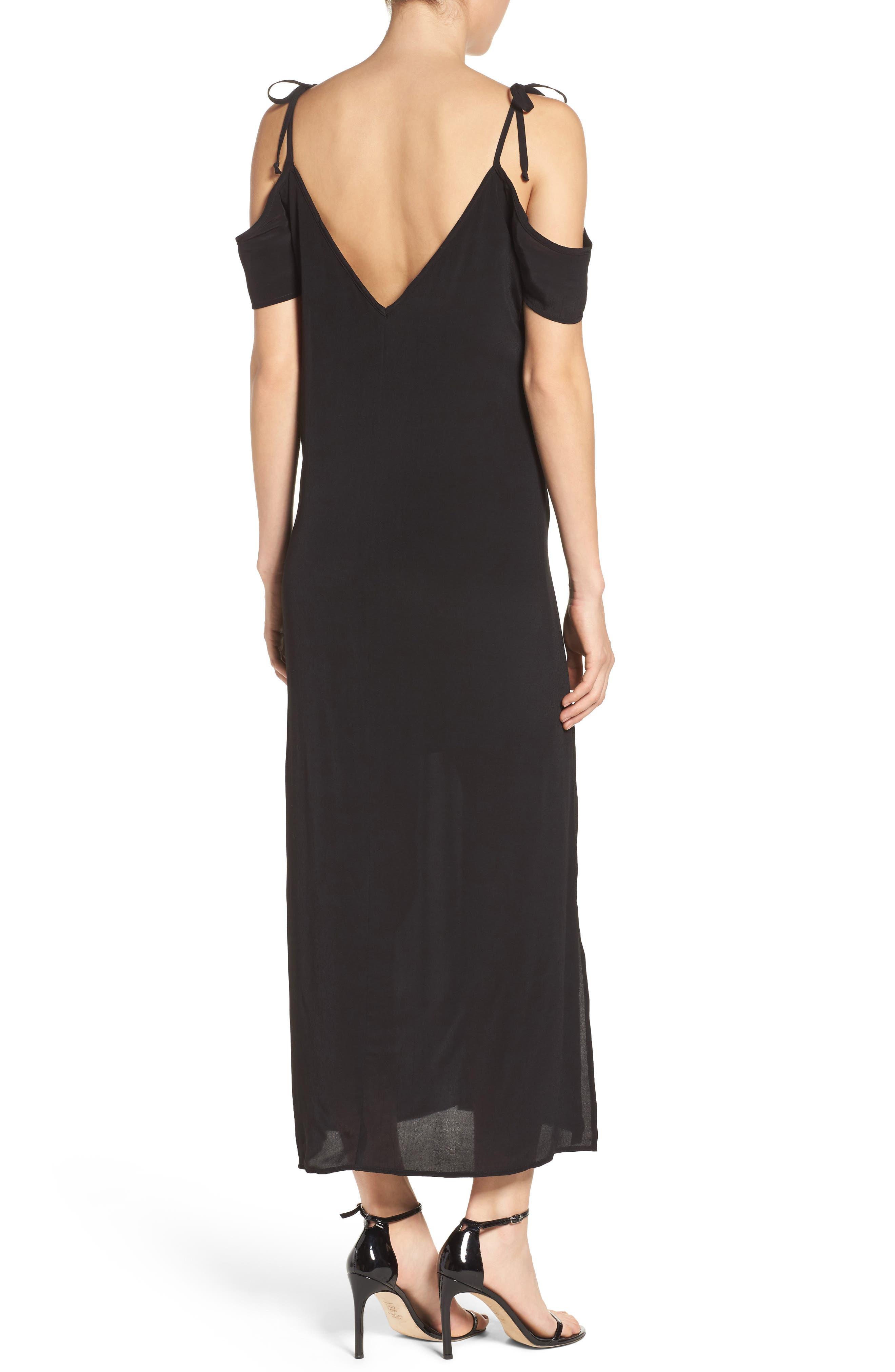 Tie Cold Shoulder Midi Dress,                             Alternate thumbnail 2, color,                             001