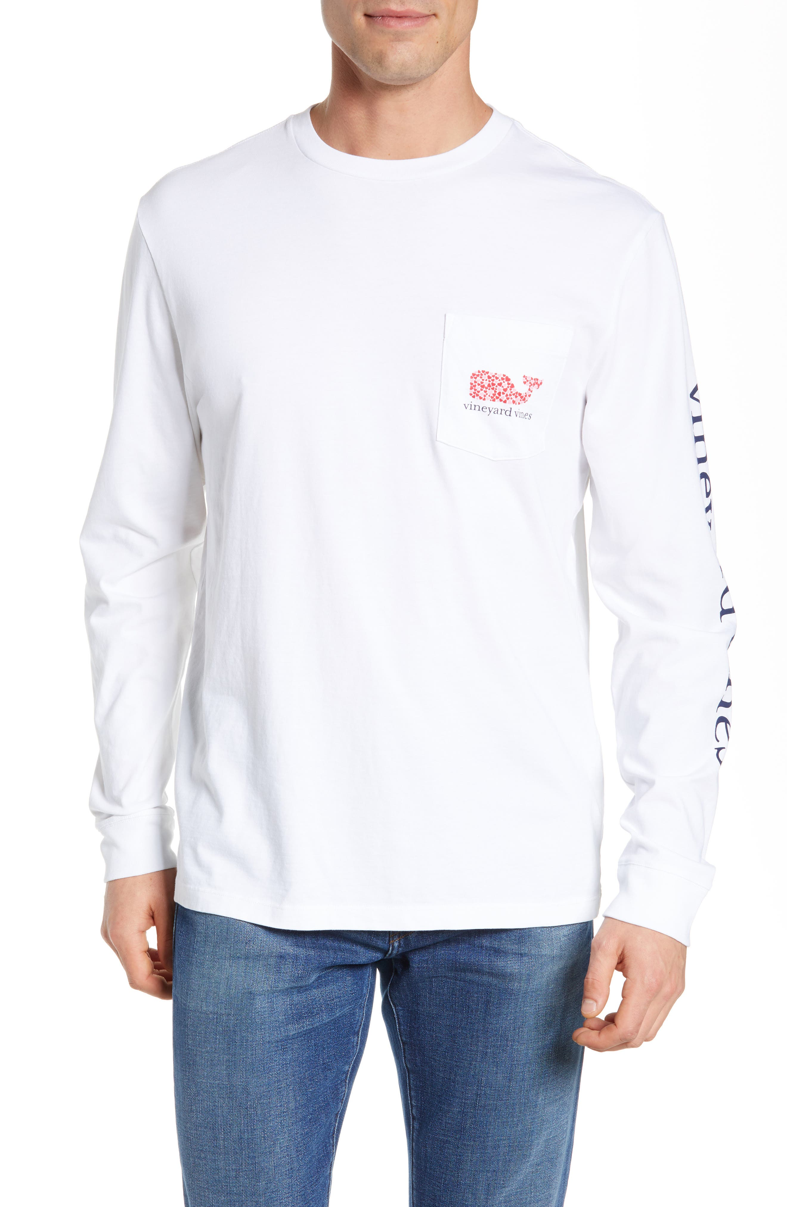 VINEYARD VINES,                             Valentine's Day Pocket T-Shirt,                             Main thumbnail 1, color,                             WHITE CAP